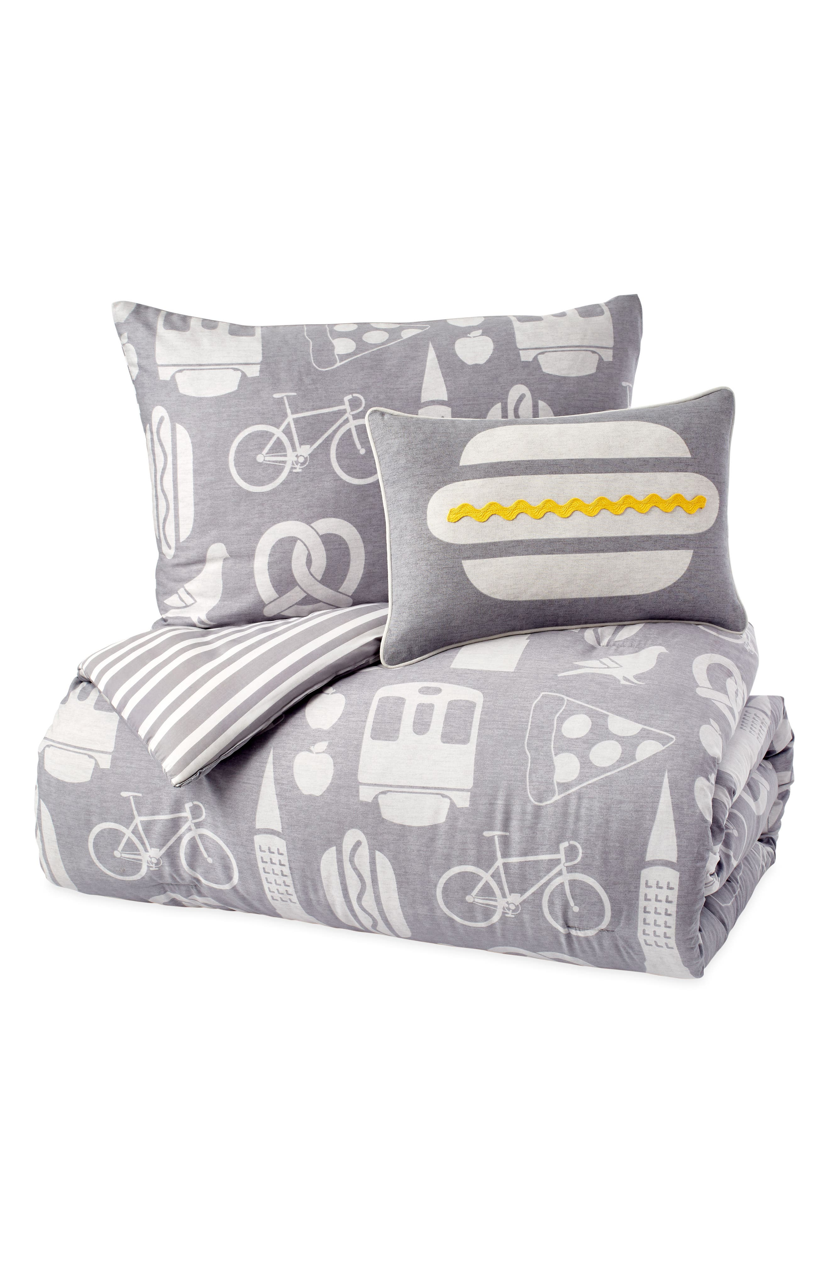 DKNY,                             NYC Comforter, Sham & Accent Pillow Set,                             Alternate thumbnail 3, color,                             GREY