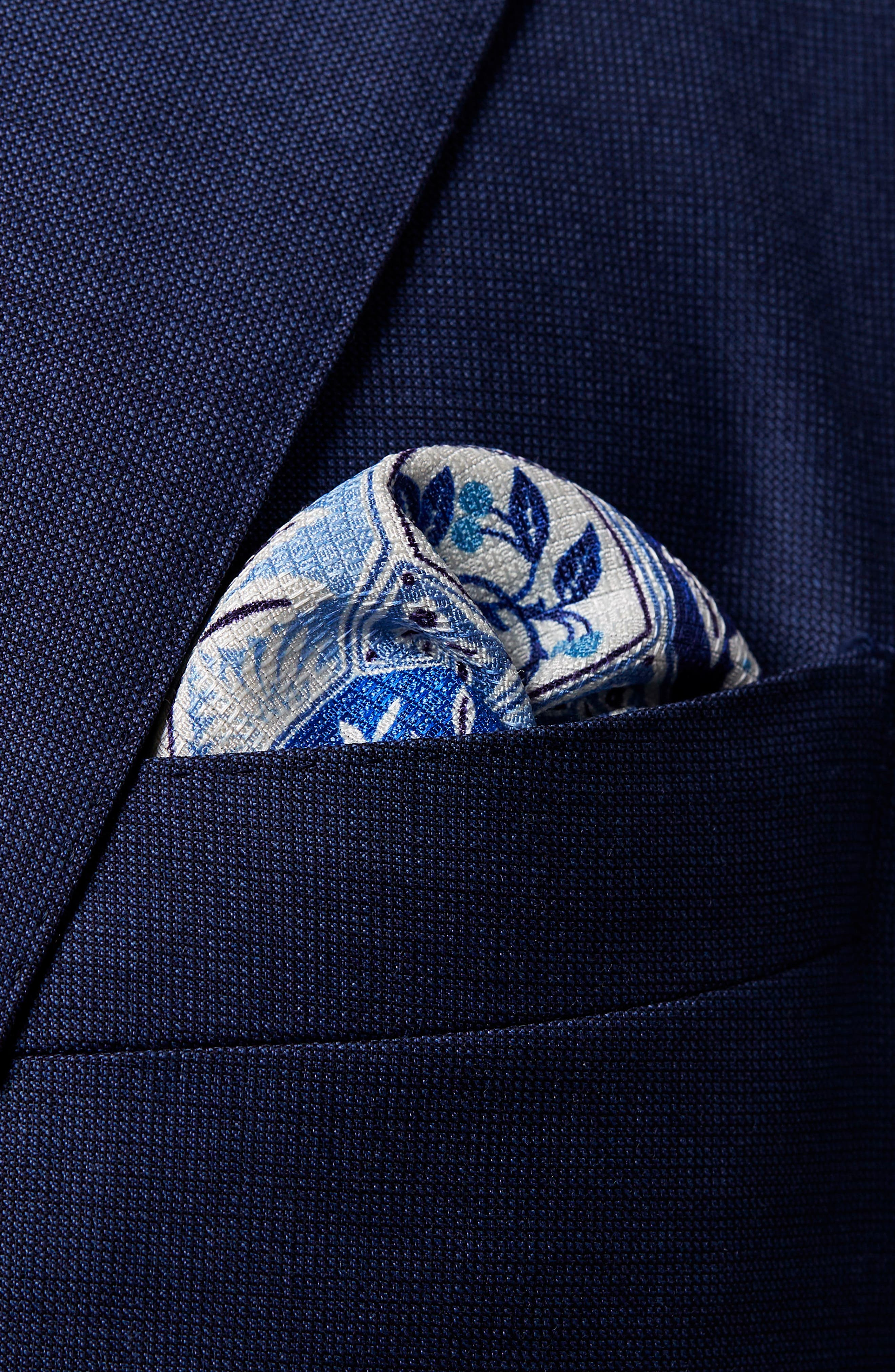 ETON,                             Medallion Tile Silk Pocket Square,                             Alternate thumbnail 2, color,                             400