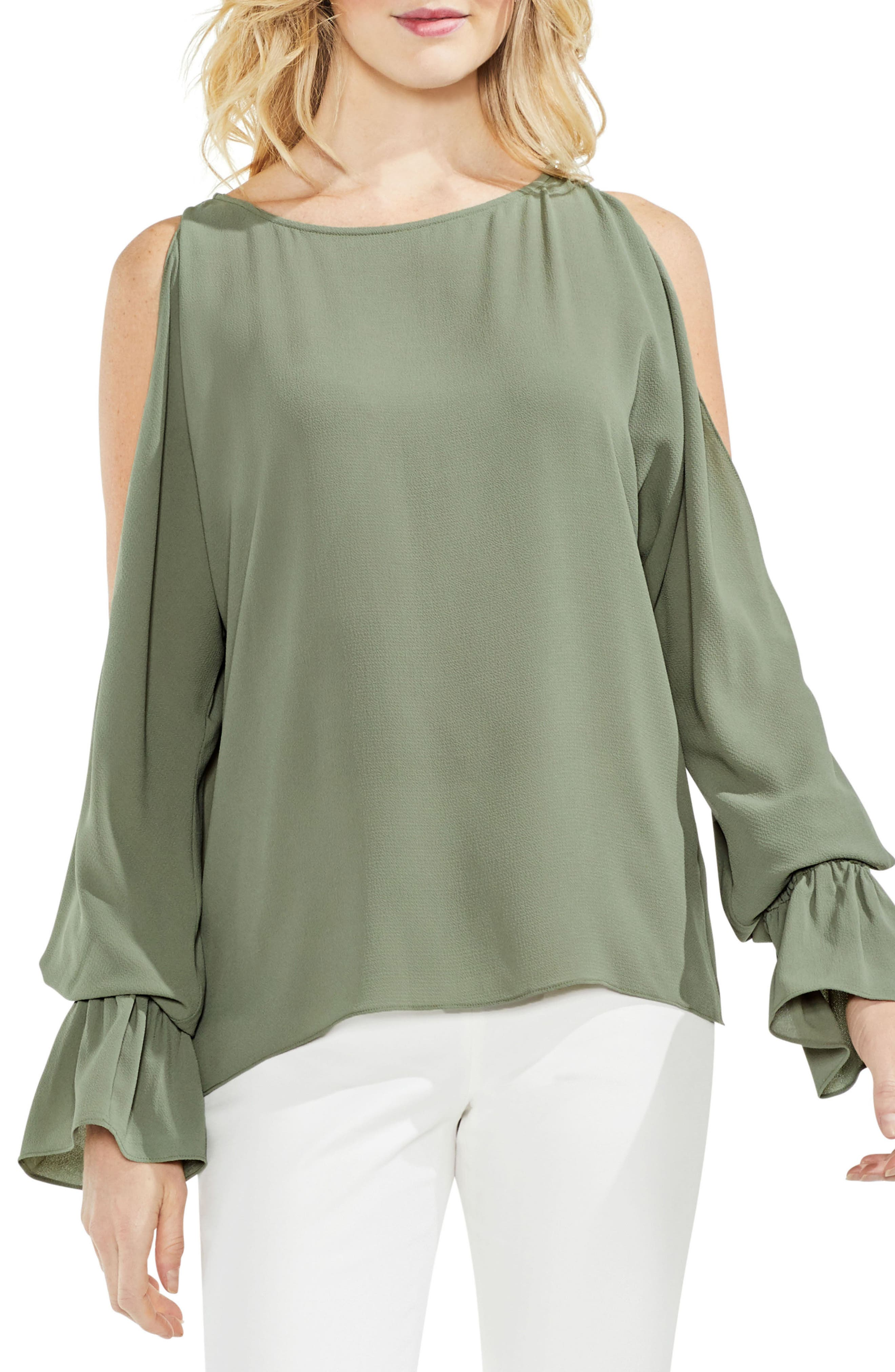 Cold Shoulder Flare Cuff Top,                             Main thumbnail 2, color,
