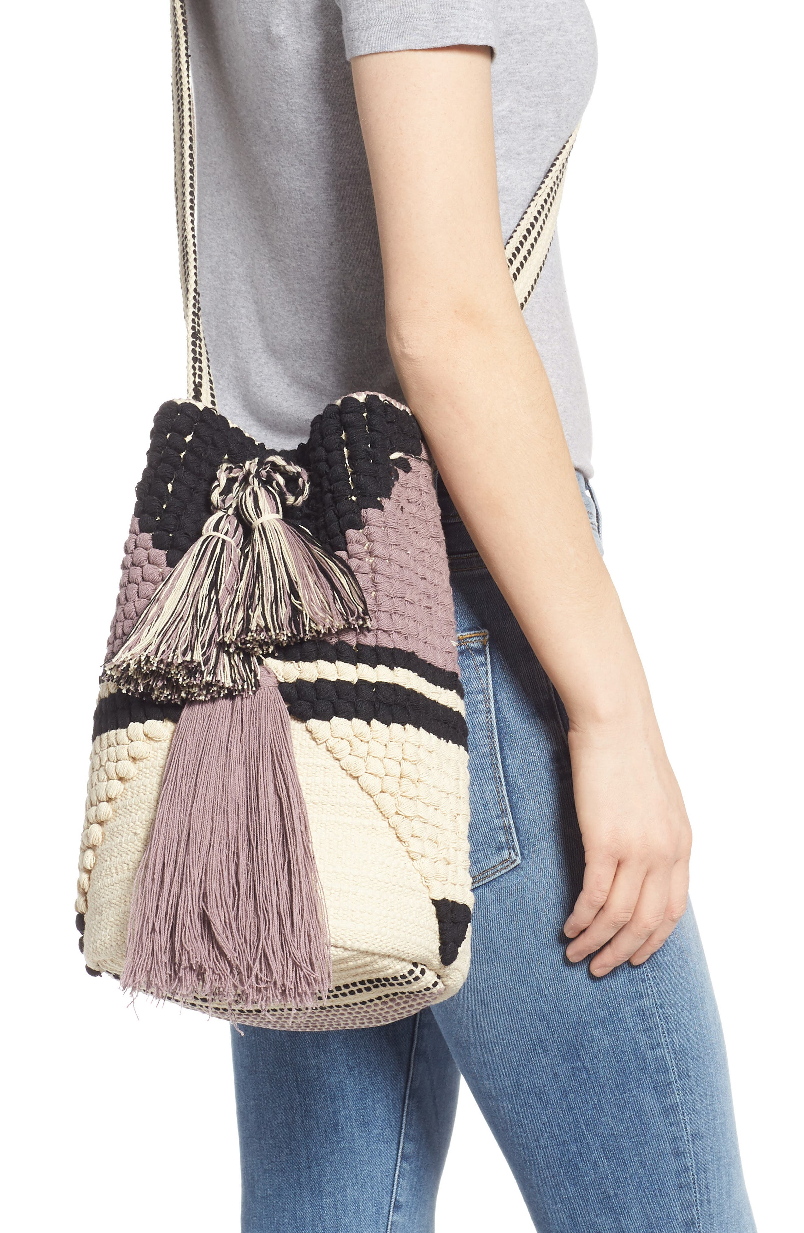 Halay Woven Bucket Bag,                             Alternate thumbnail 2, color,                             BLACK/ CREAM