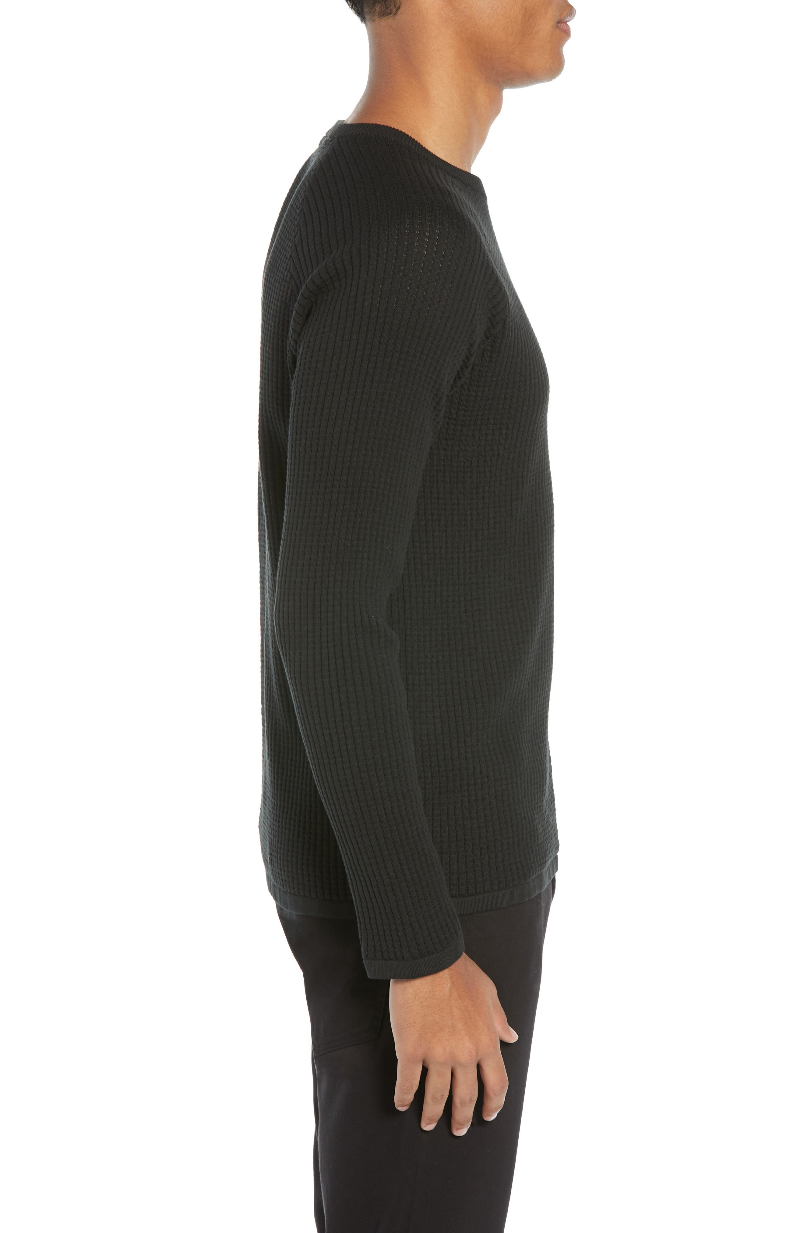 Amadeo Regular Fit Textured Cotton Sweater,                             Alternate thumbnail 3, color,                             BLACK