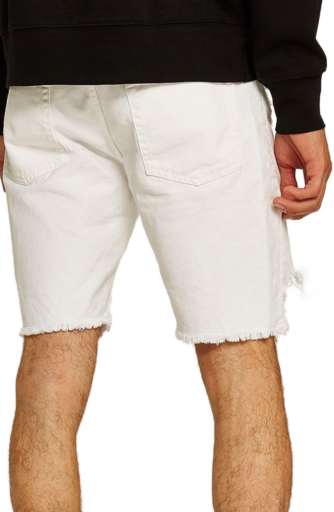 Slim Fit Shredded Jean Shorts,                             Alternate thumbnail 2, color,                             WHITE