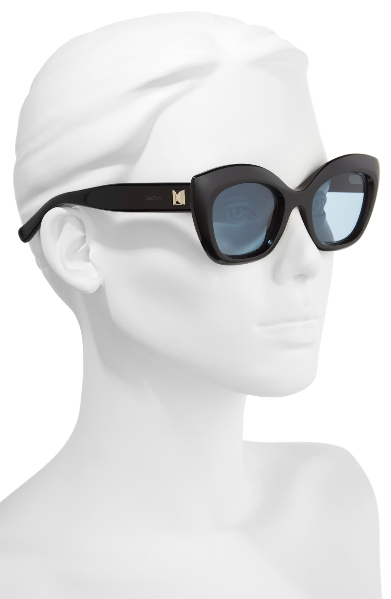 Prism VII 50mm Gradient Cat Eye Sunglasses,                             Alternate thumbnail 2, color,                             BLACK