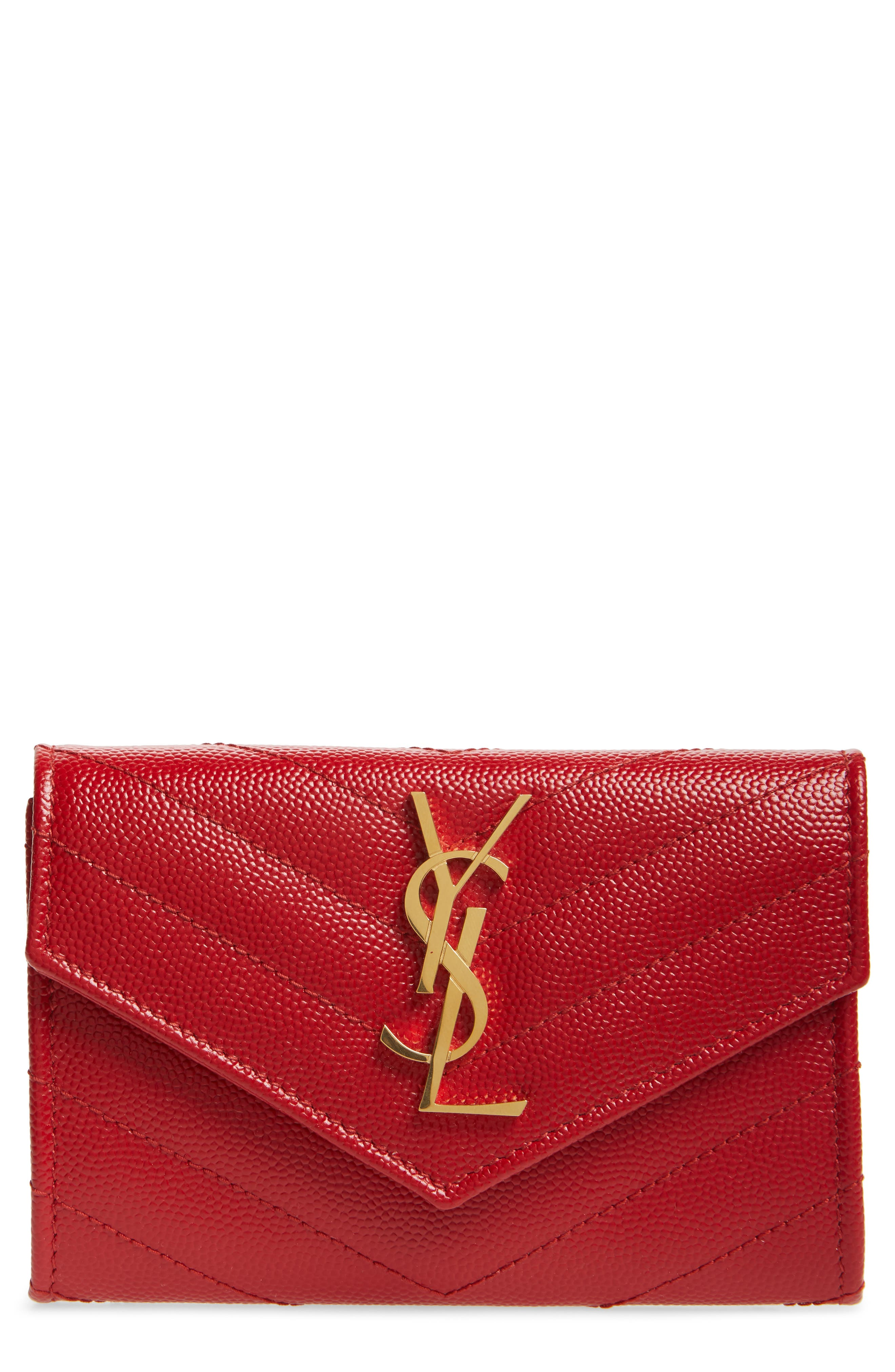 'Monogram' Quilted Leather French Wallet,                             Main thumbnail 1, color,                             BANDANA RED
