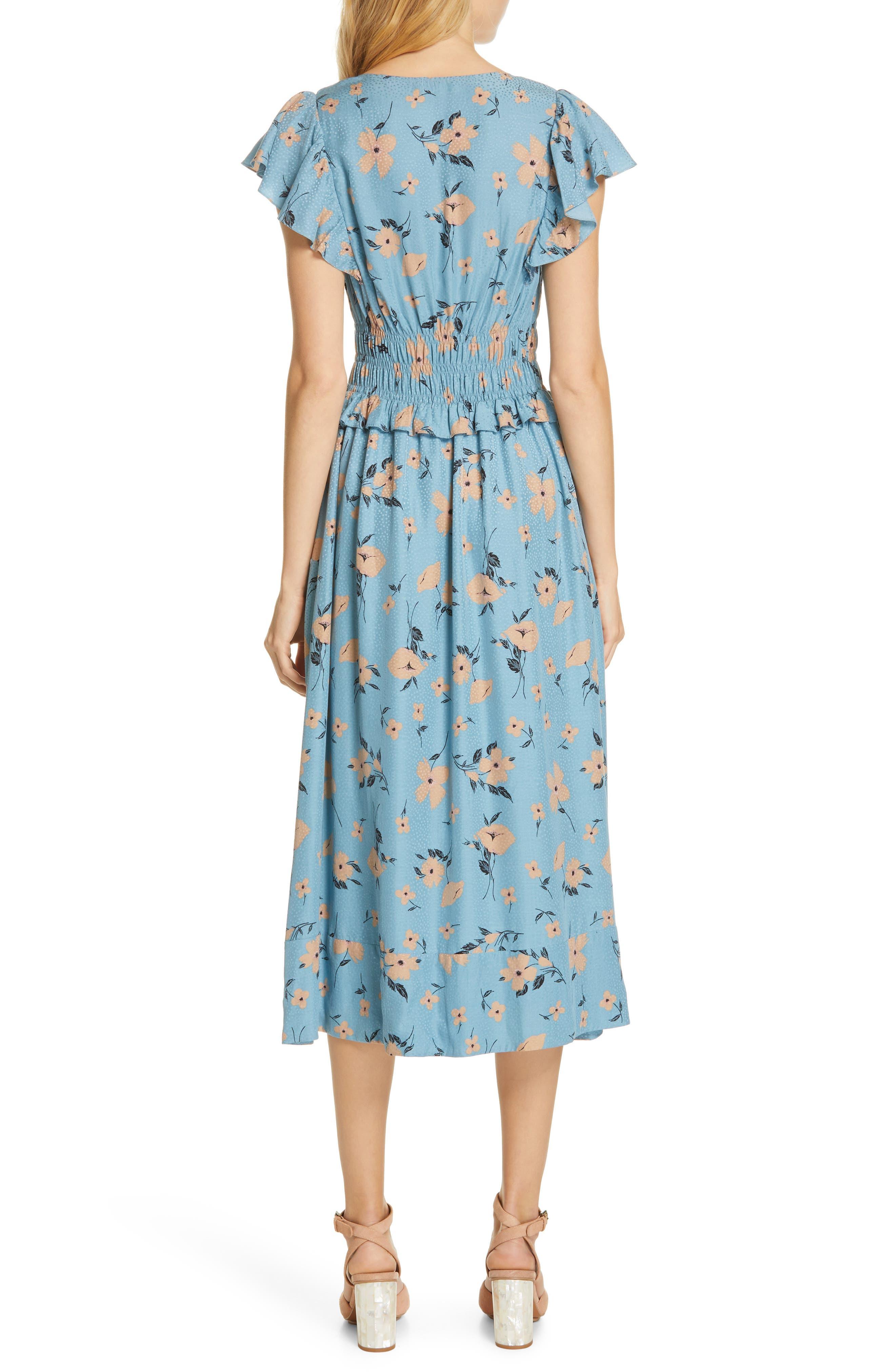 REBECCA TAYLOR,                             Daniella Floral Jacquard Silk Blend Dress,                             Alternate thumbnail 2, color,                             LAGOON COMBO