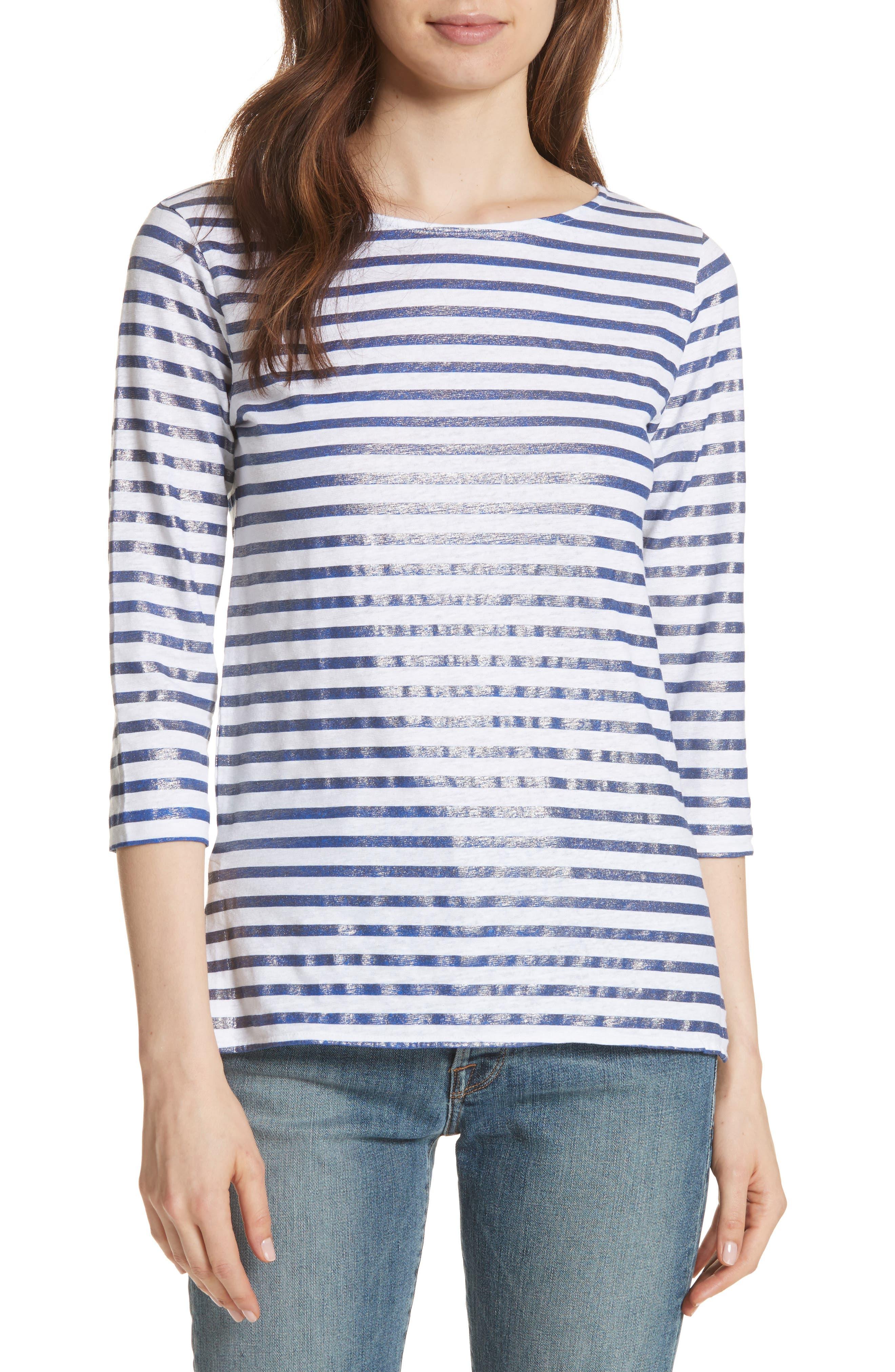 Linen Stretch Stripe Top,                         Main,                         color, BLANC/ MARINE METAL