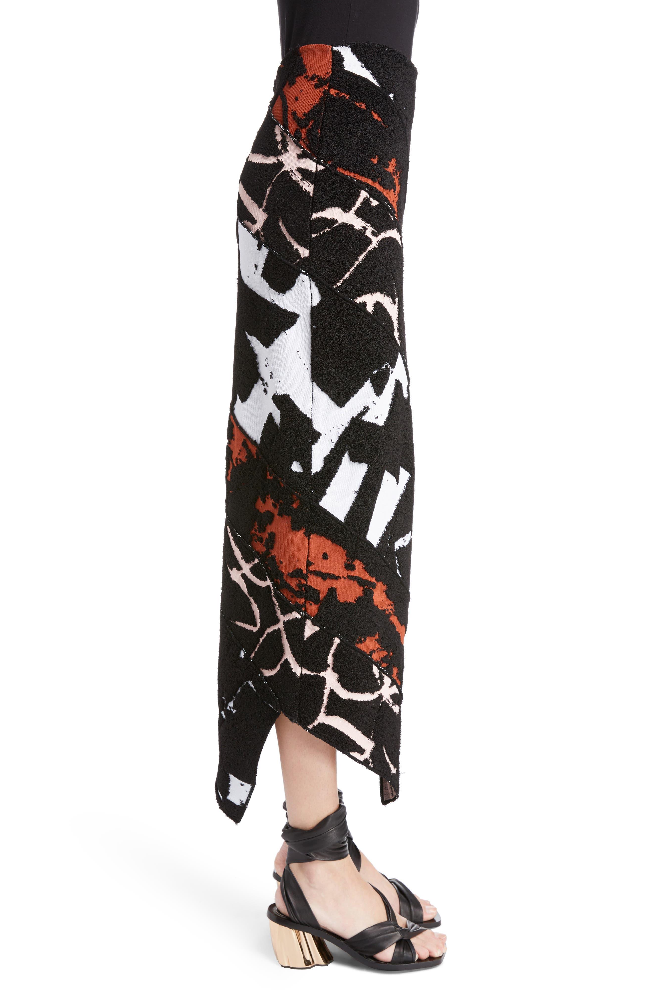 Spiral Knit Jacquard Skirt,                             Alternate thumbnail 3, color,                             001