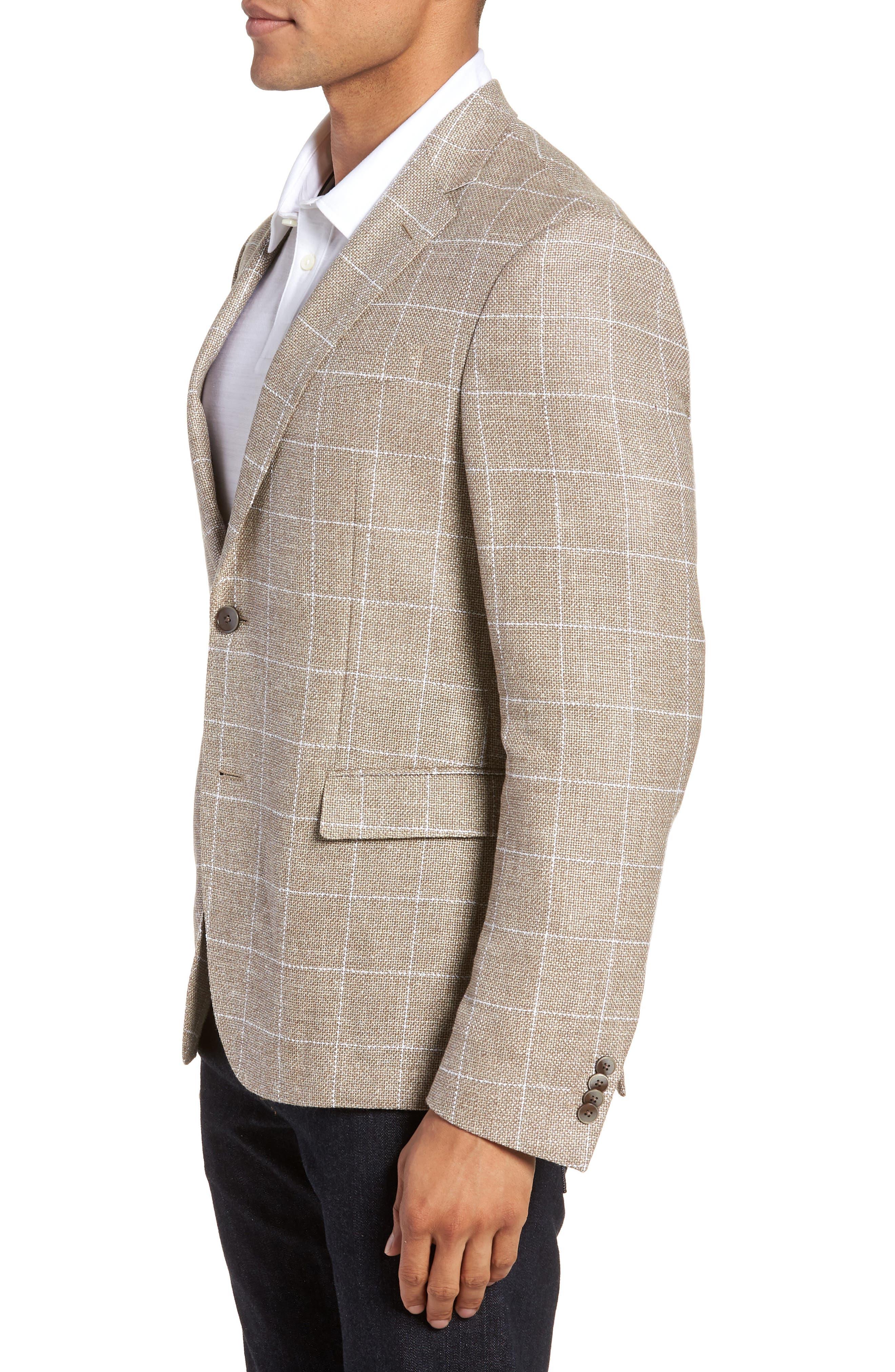 Nobis Trim Fit Windowpane Wool & Linen Sport Coat,                             Alternate thumbnail 3, color,                             250
