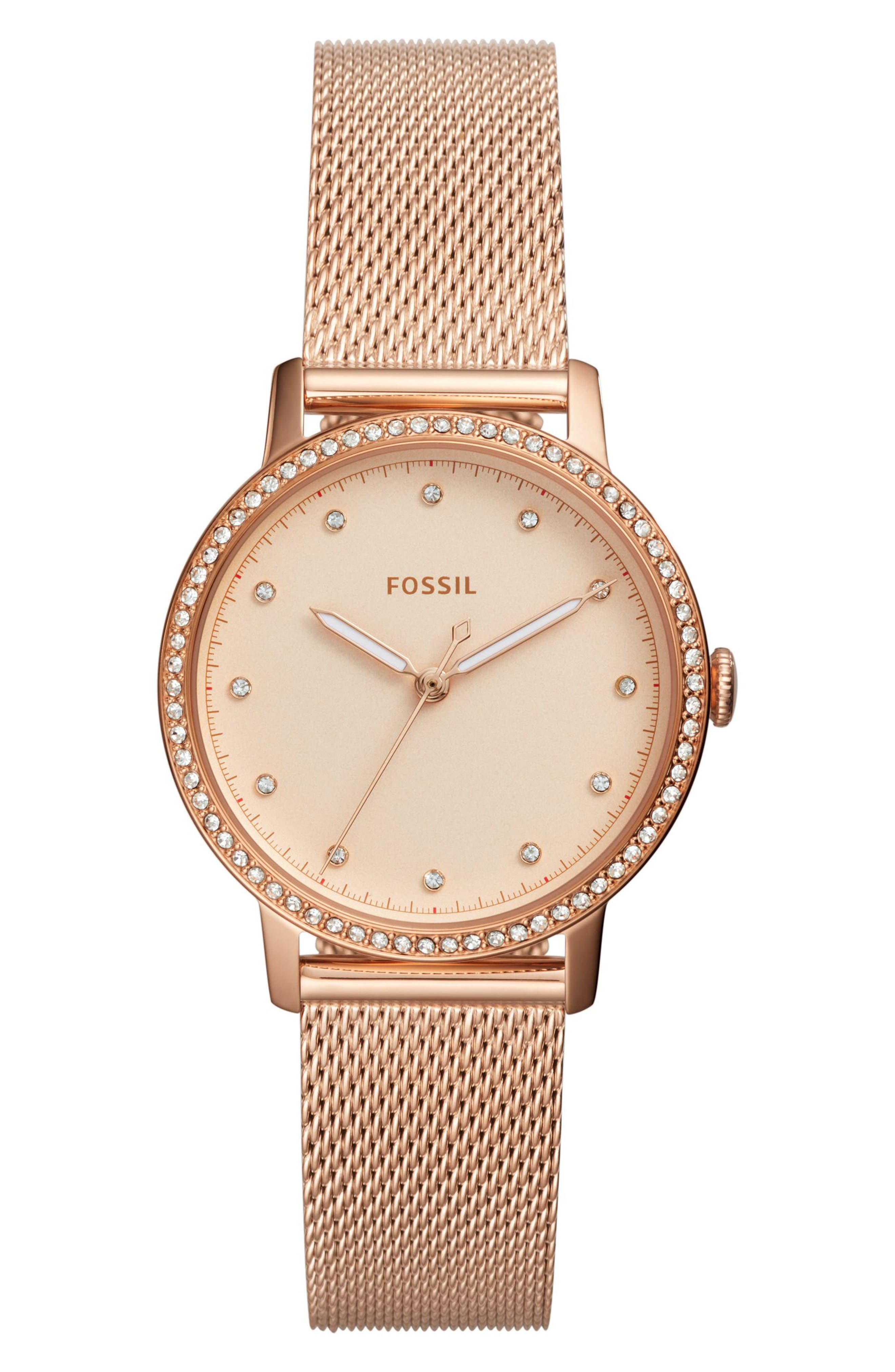 Neely Crystal Mesh Strap Watch, 34mm,                         Main,                         color, ROSE GOLD