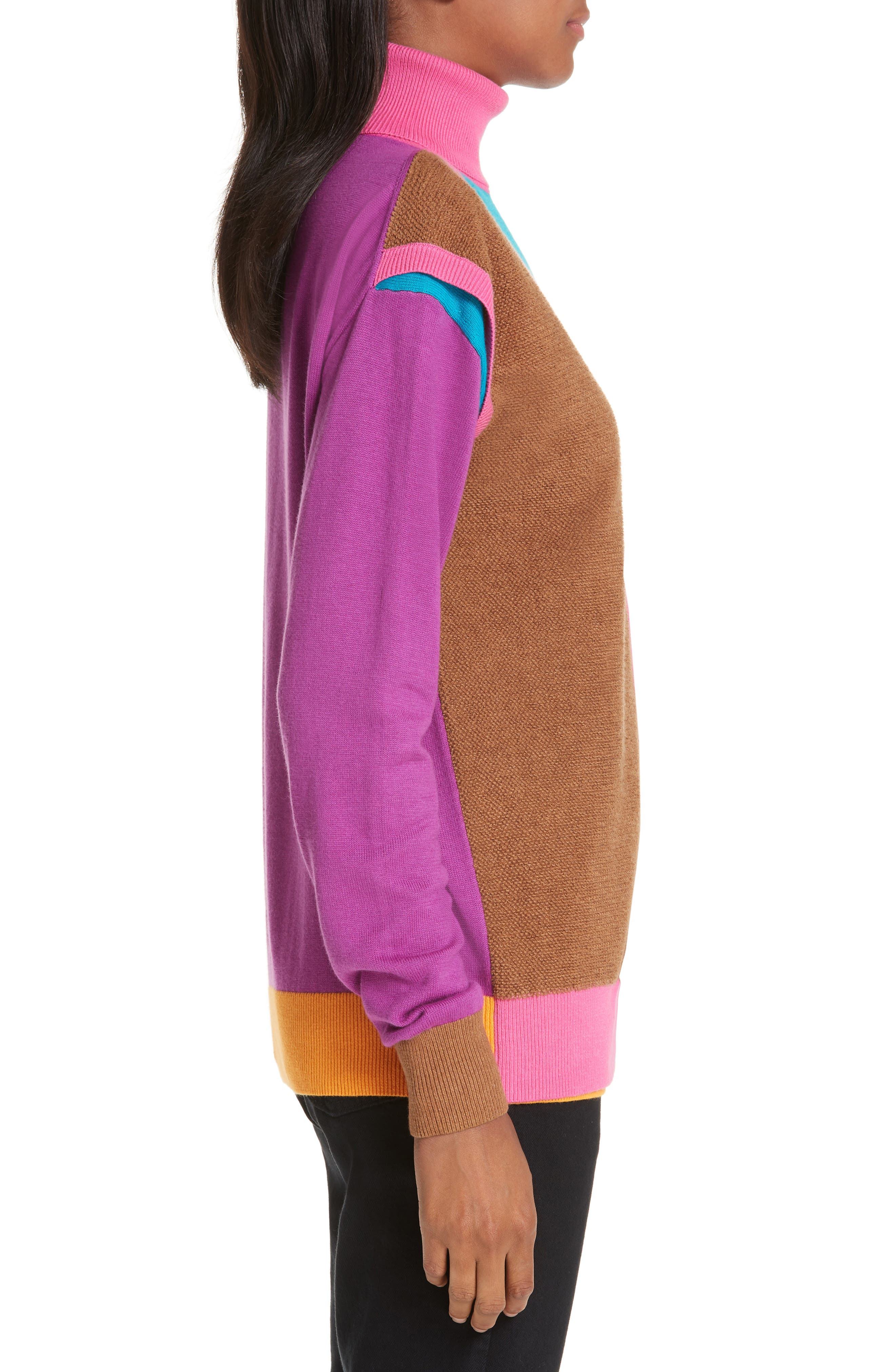 Layered Cotton & Cashmere Sweater,                             Alternate thumbnail 3, color,                             PINK/BLUE/SAND COMBO