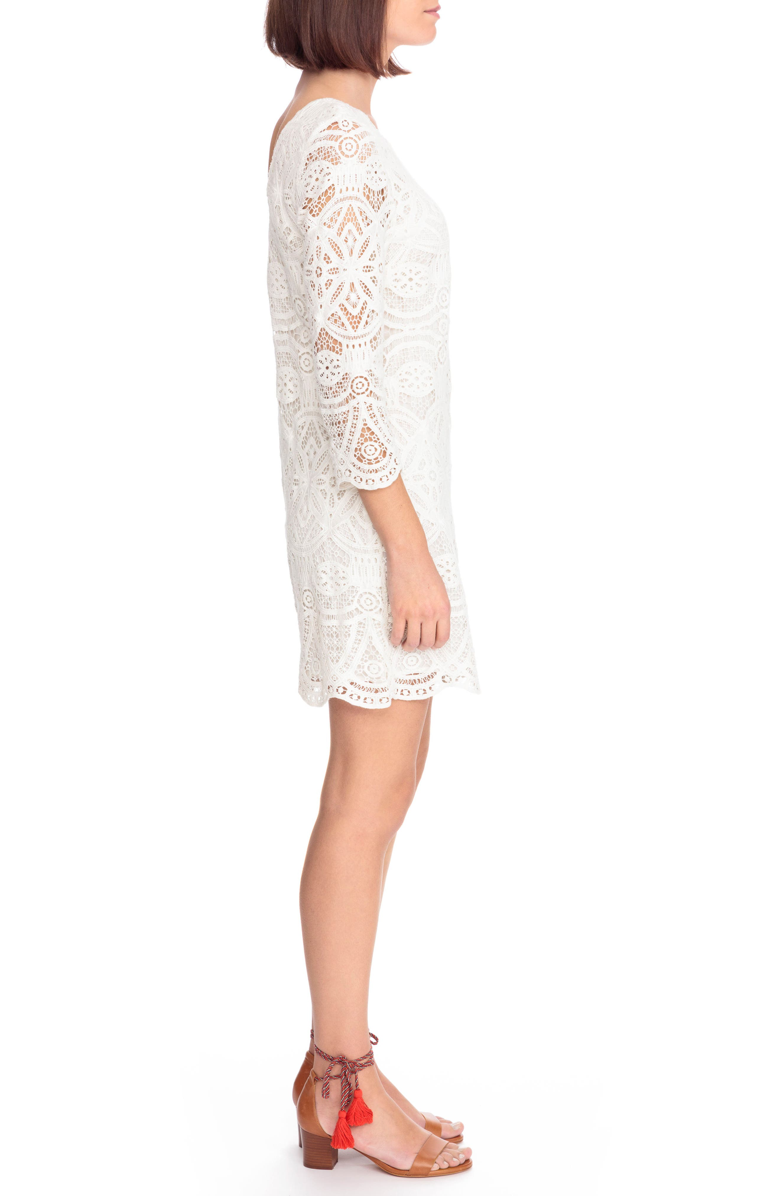 Sarah Lace Shift Dress,                             Alternate thumbnail 3, color,                             100