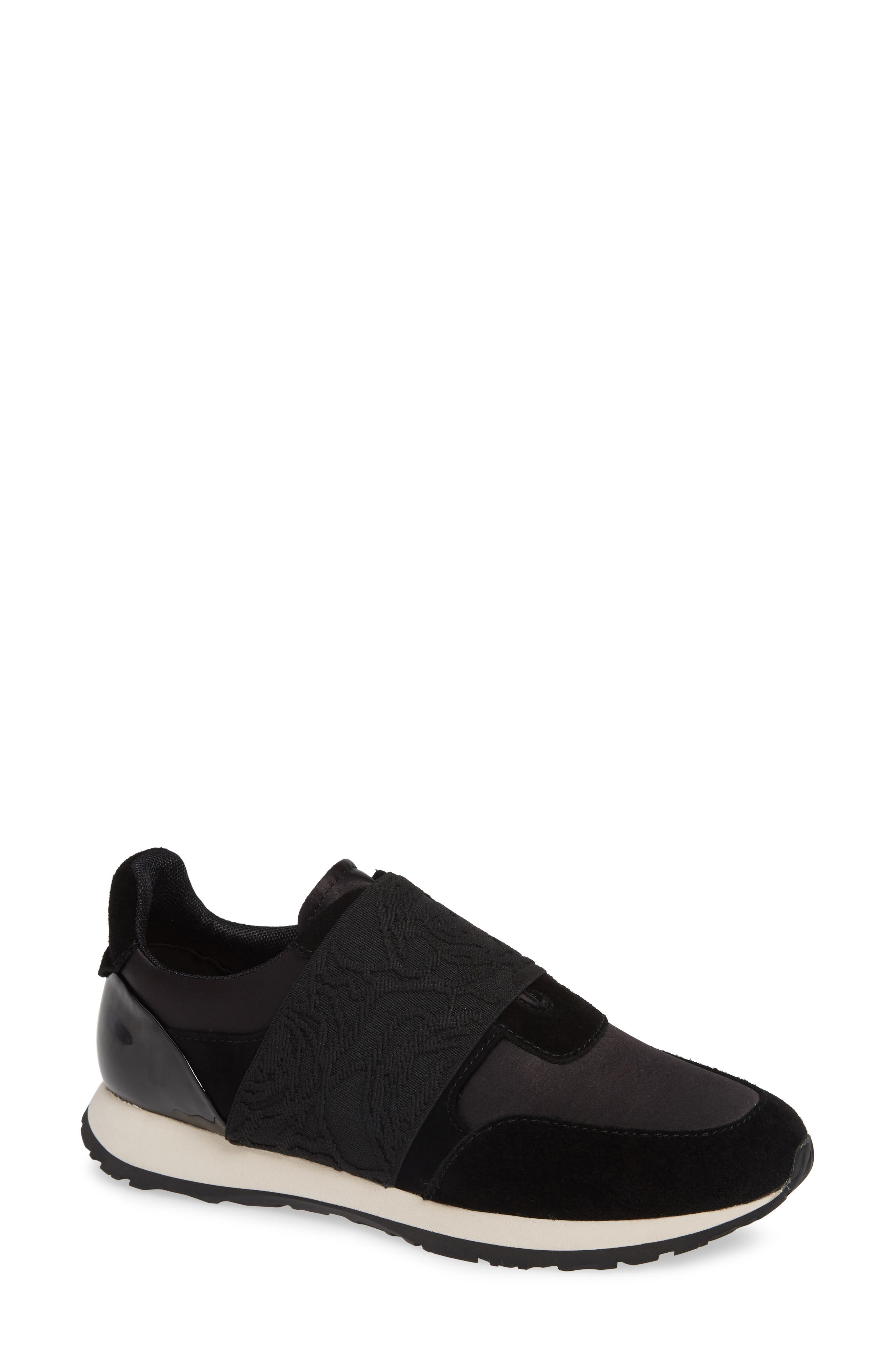 Carson Slip On Sneaker,                             Main thumbnail 1, color,                             BLACK SUEDE