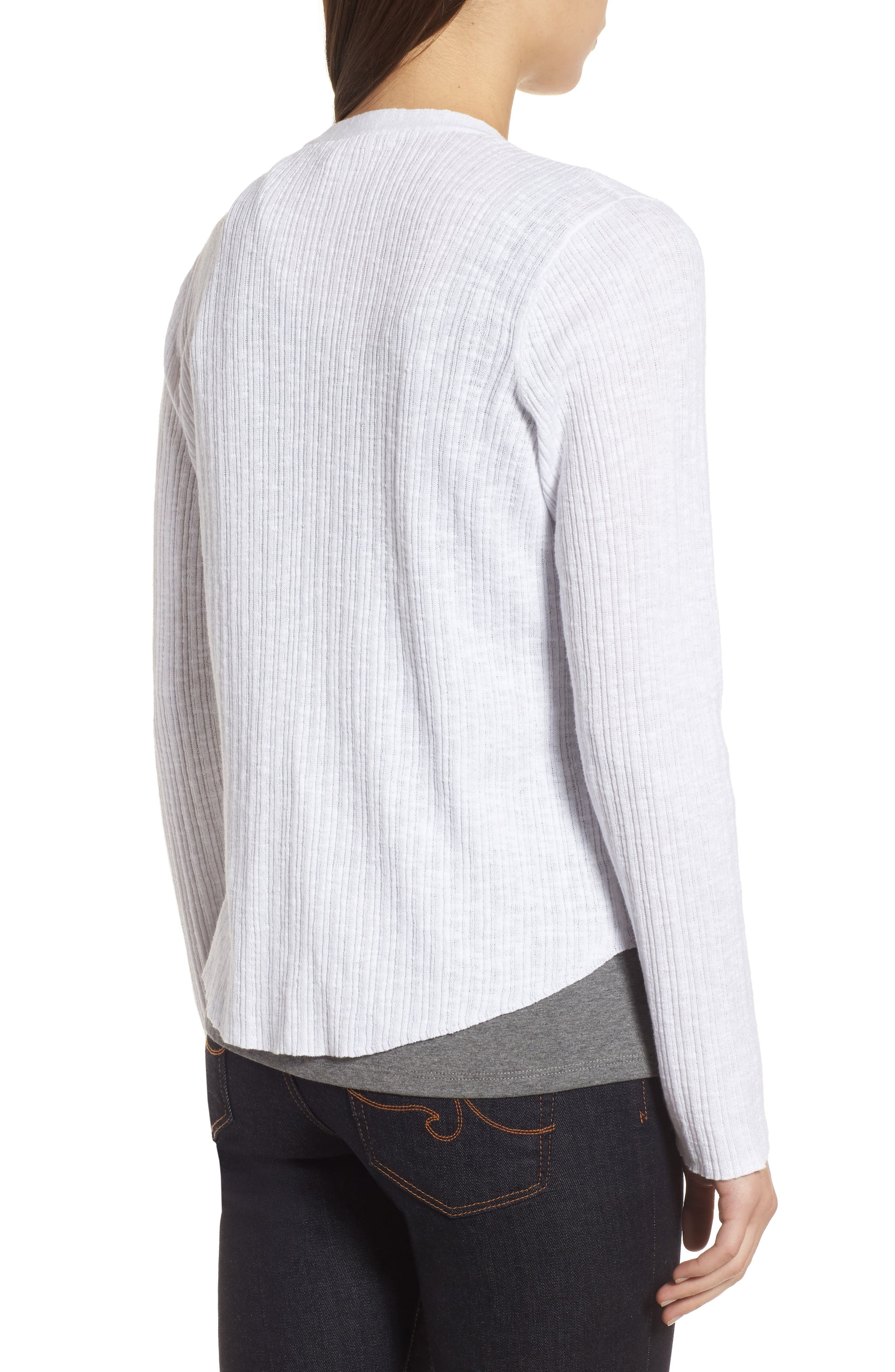 V-Neck Organic Linen & Cotton Cardigan,                             Alternate thumbnail 2, color,                             100