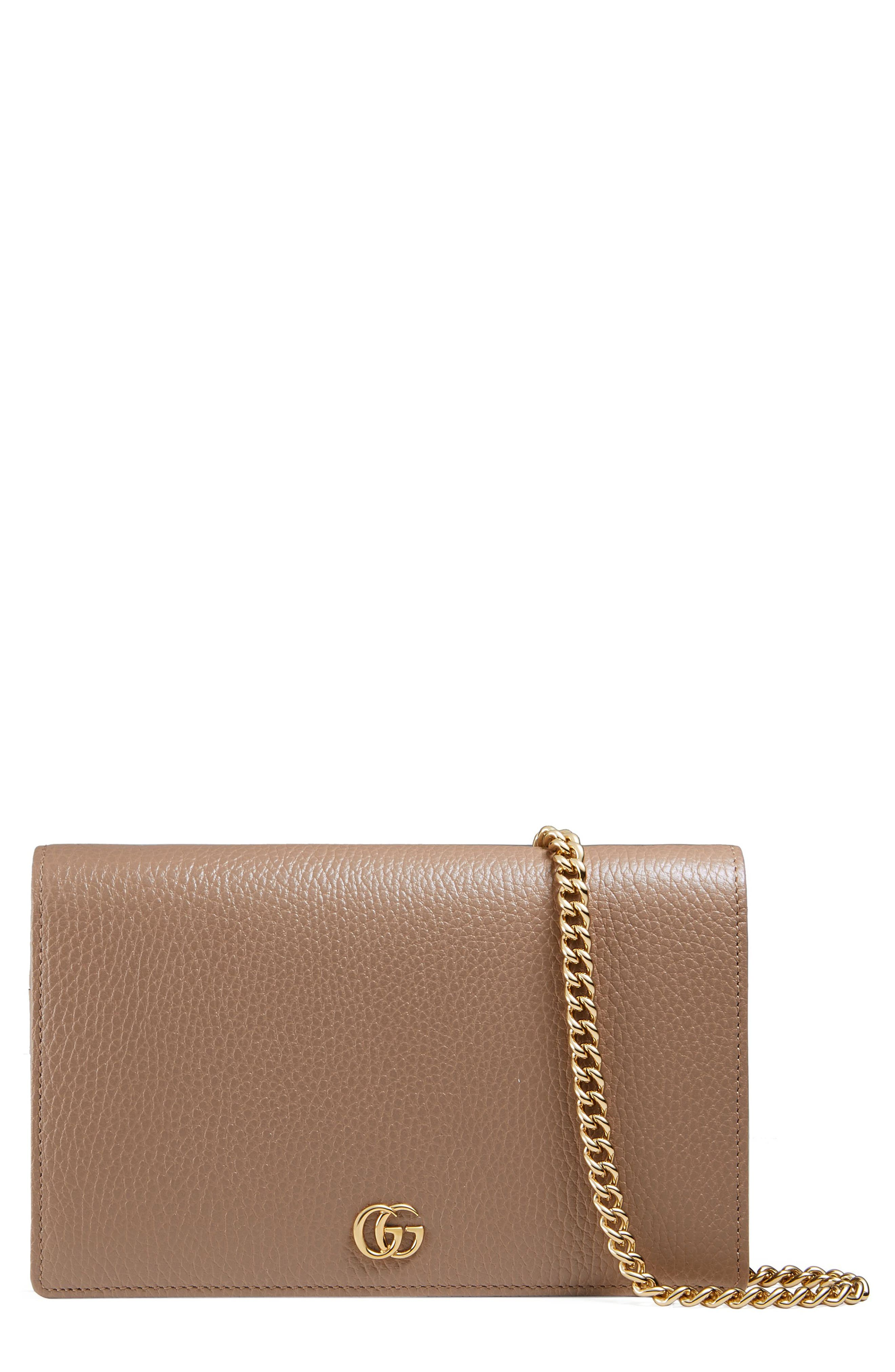 Petite Marmont Leather Wallet on a Chain,                             Main thumbnail 4, color,