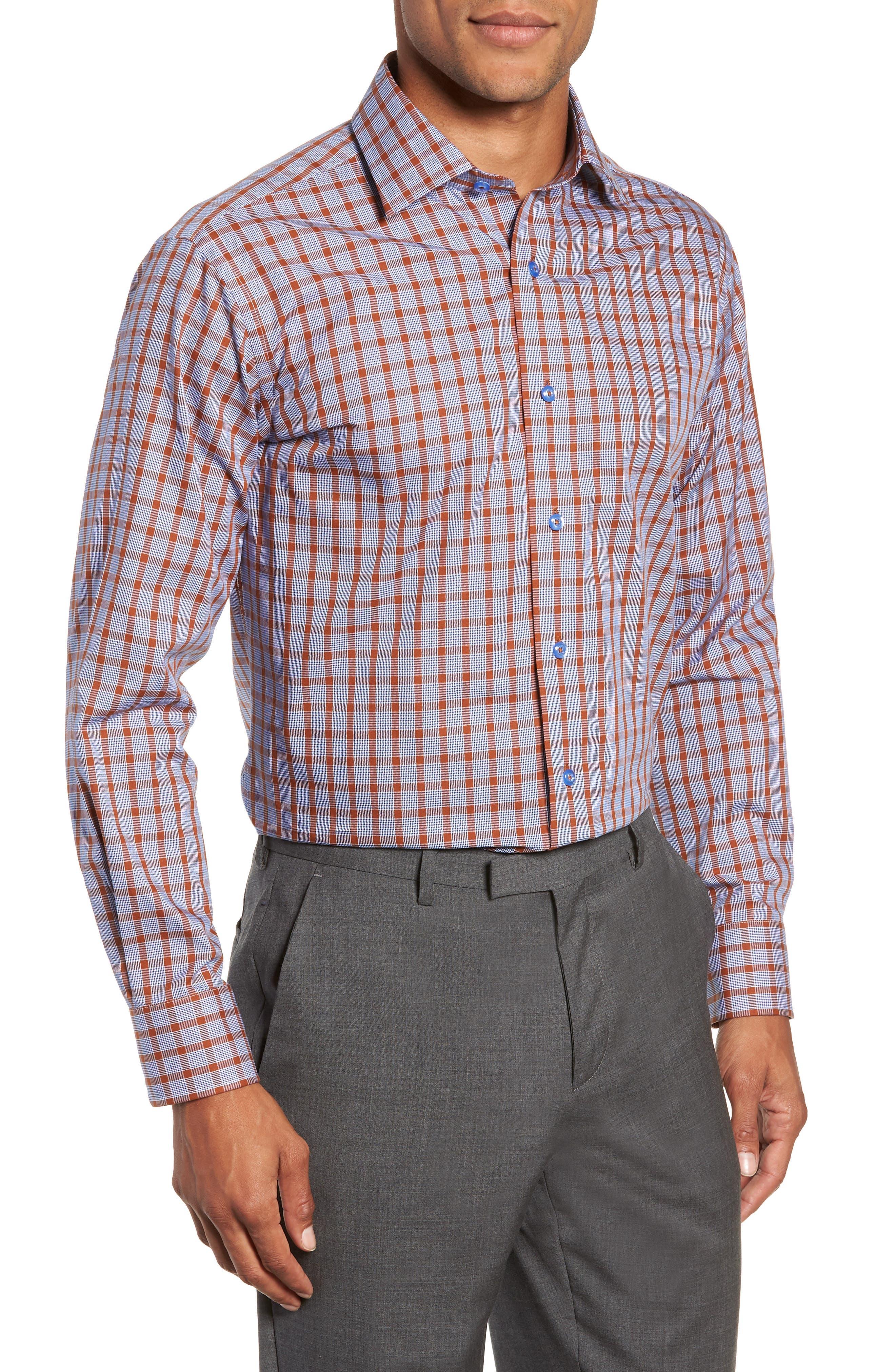 Trim Fit Plaid Dress Shirt,                             Main thumbnail 1, color,                             430