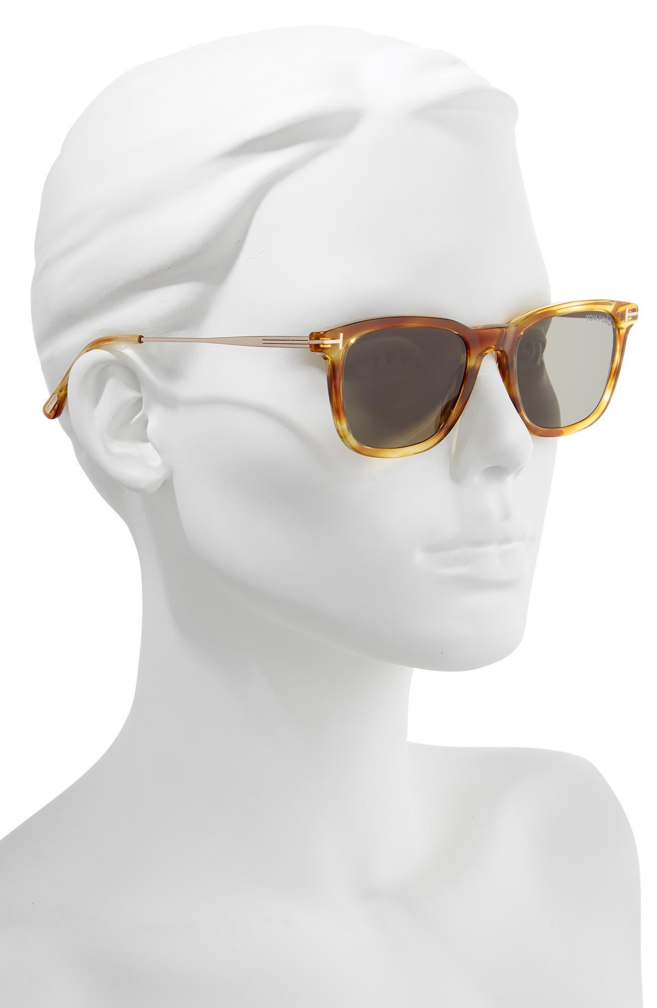 53mm Rectangle Sunglasses,                             Alternate thumbnail 2, color,                             LIGHT BROWN/ SMOKE