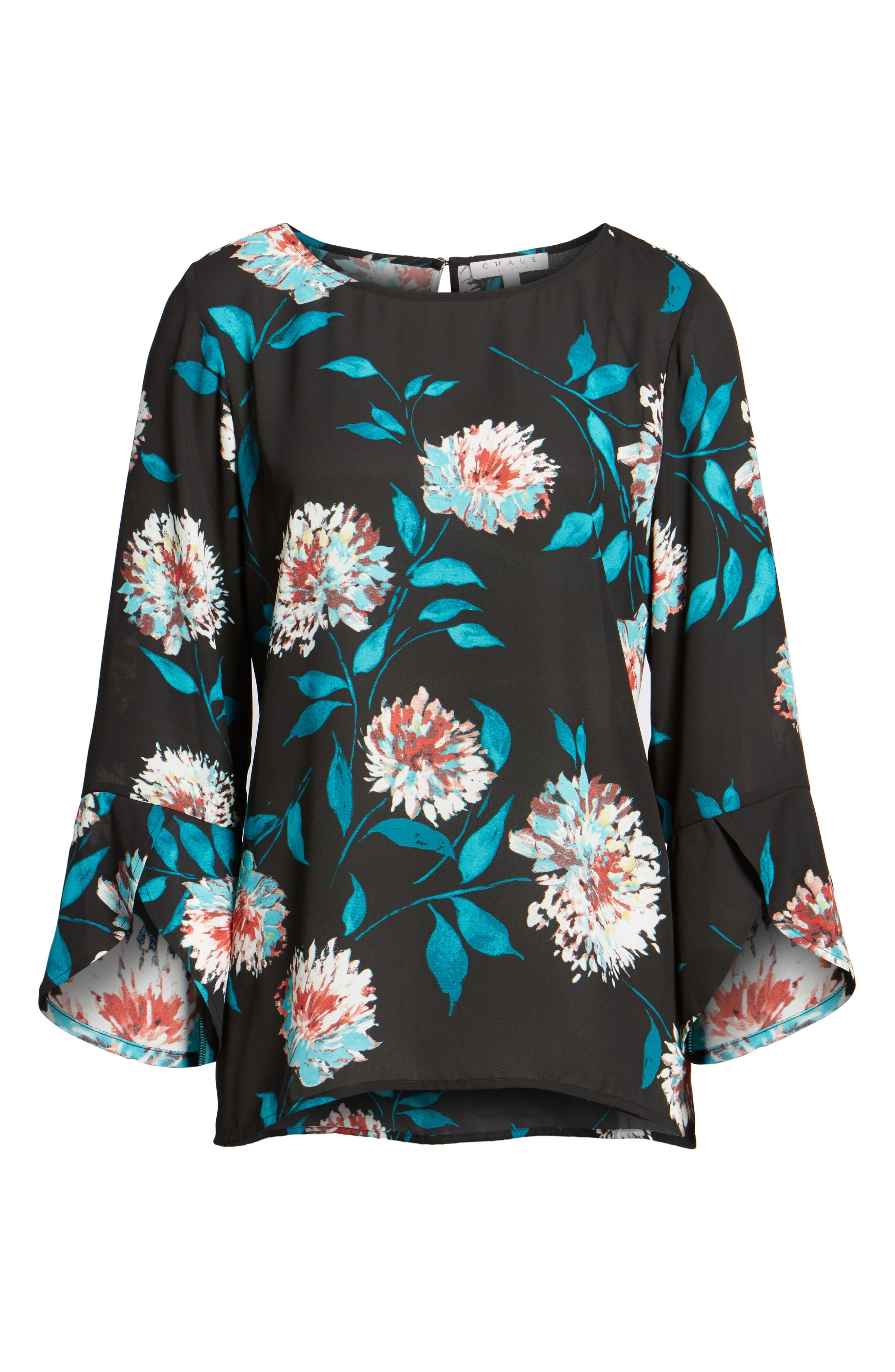 Kyoto Blossoms Bell Sleeve Blouse,                             Alternate thumbnail 6, color,                             006