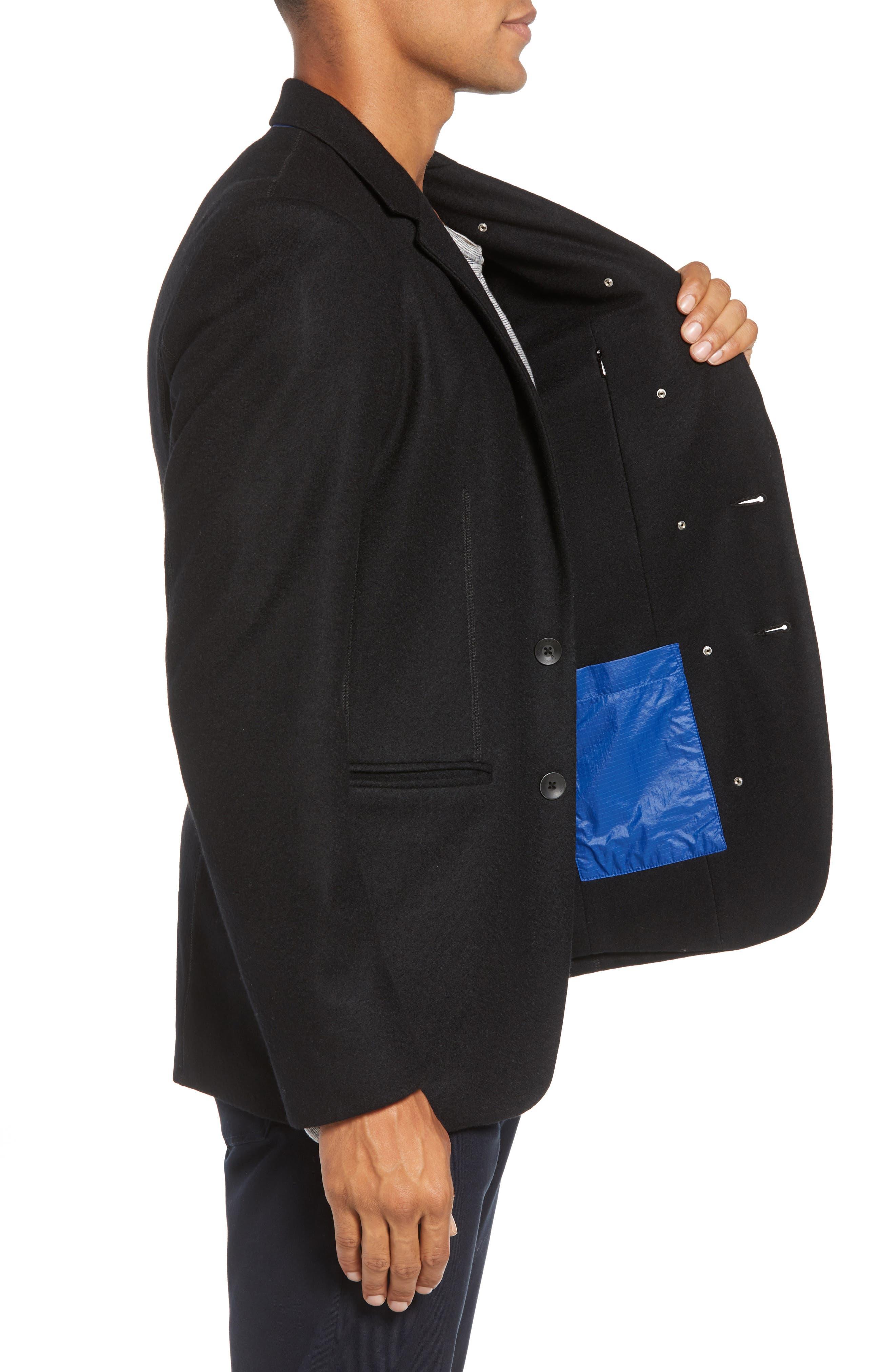 Deconstructed Razor Slim Fit Wool Jacket,                             Alternate thumbnail 3, color,                             BLACK