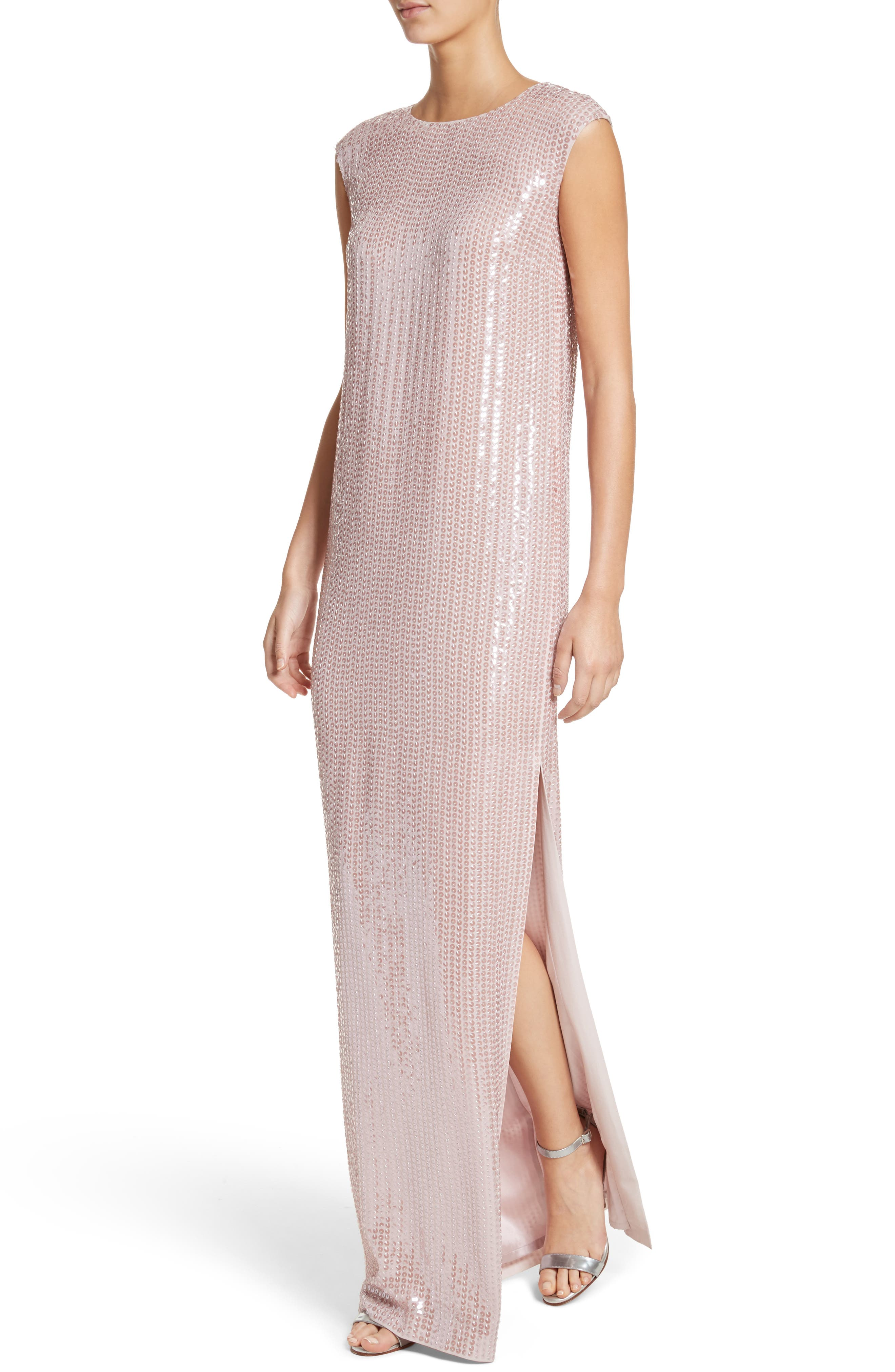Sequin Silk Georgette Column Gown,                             Alternate thumbnail 4, color,                             680