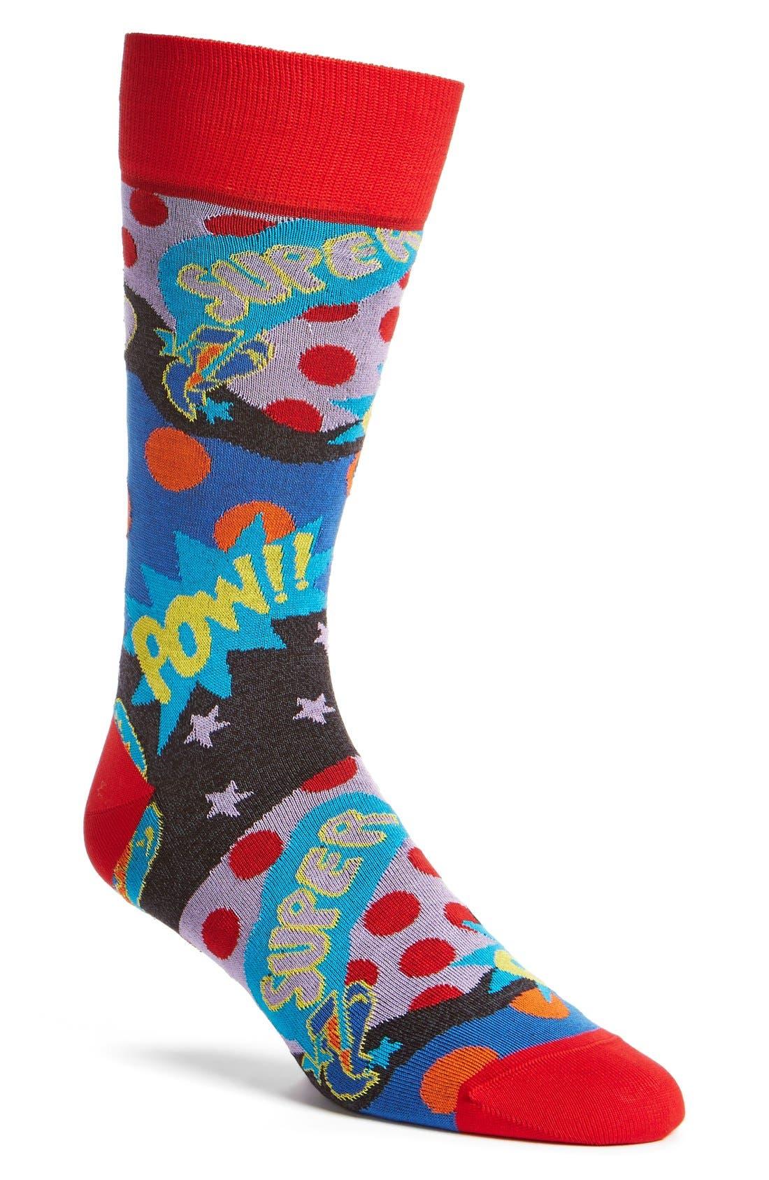BUGATCHI 'Comic Book' Socks, Main, color, 602