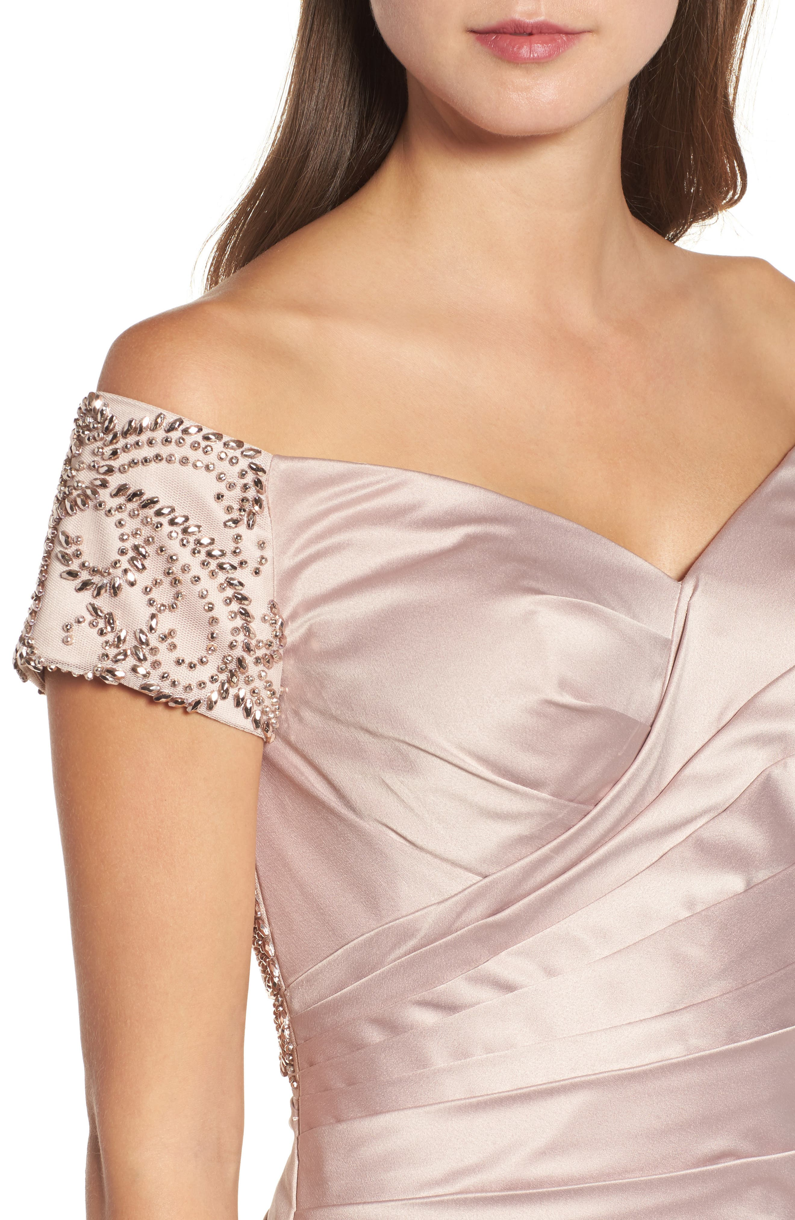 LA FEMME,                             Beaded Back Off the Shoulder Gown,                             Alternate thumbnail 4, color,                             CHAMPAGNE