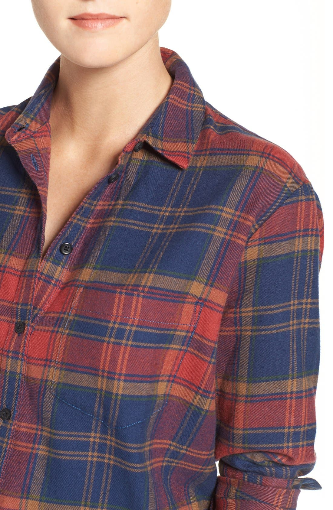 Ex-Boyfriend Shrunken Flannel Boyfriend Shirt,                             Alternate thumbnail 5, color,                             650