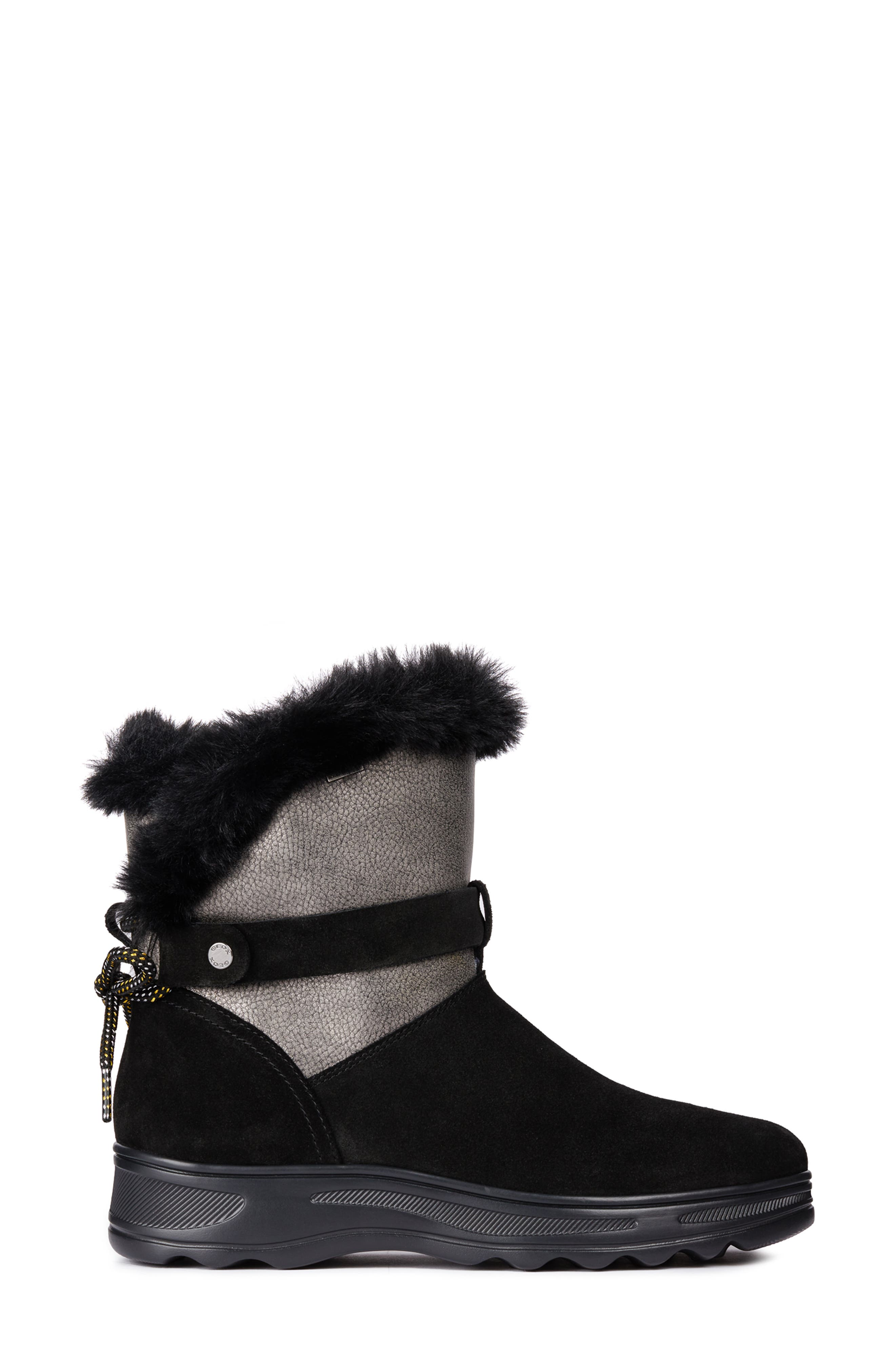 Hosmos ABX Waterproof Faux Fur Trim Boot,                             Alternate thumbnail 3, color,                             BLACK/ DARK GREY SUEDE