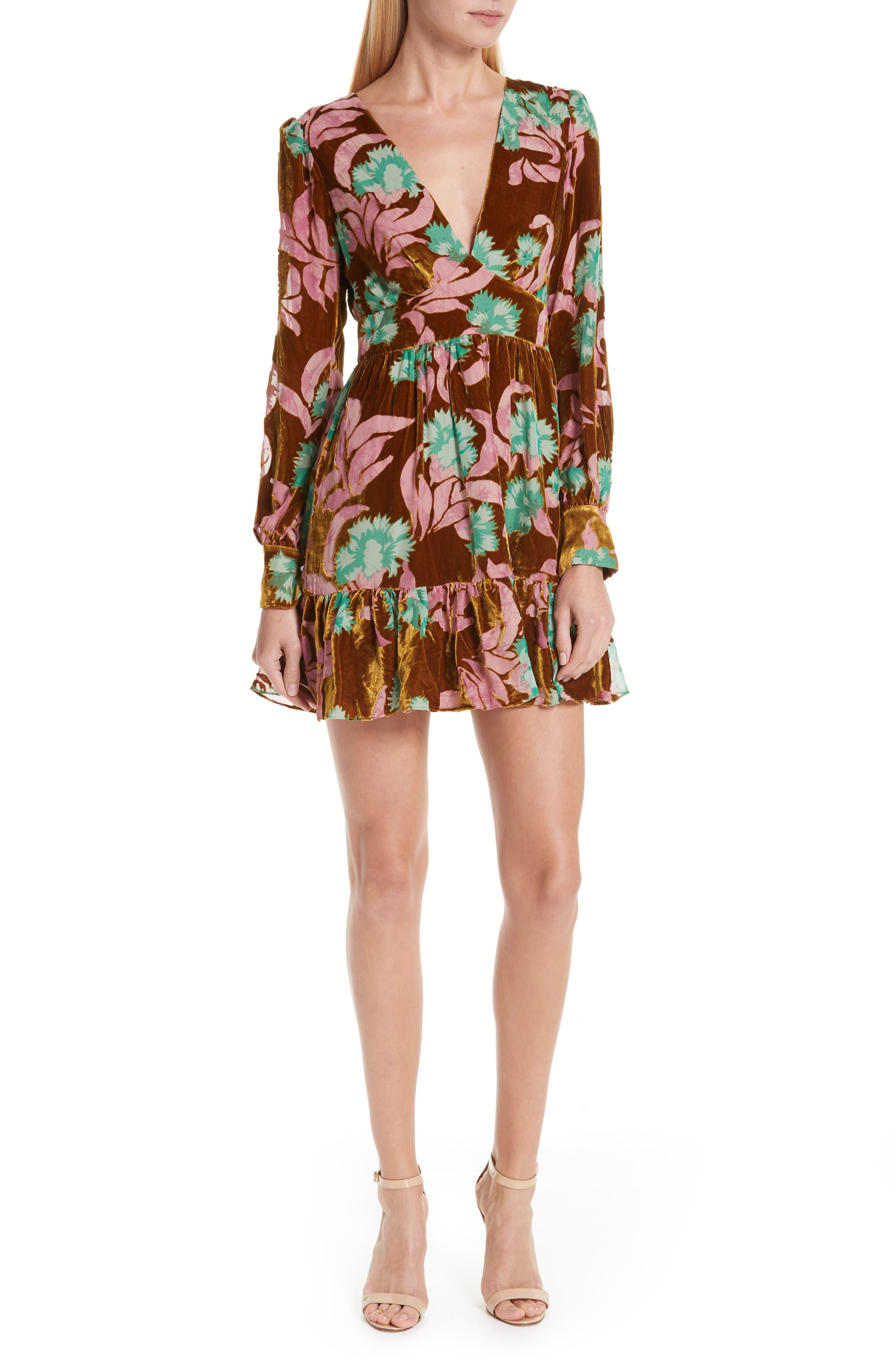Pia Velvet Devoré Dress,                         Main,                         color, PARADISE AZALEA