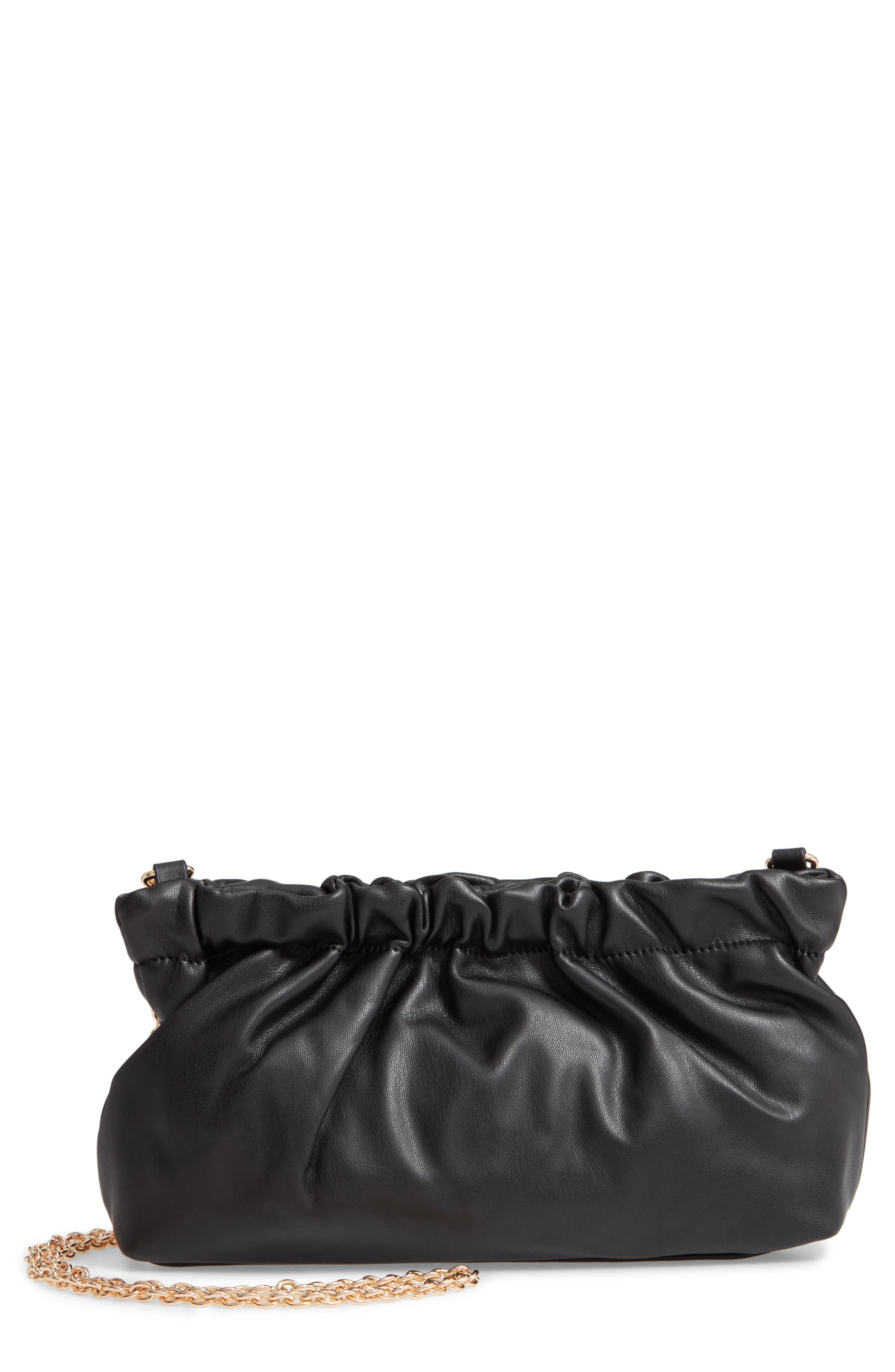 Tyll Faux Leather Clutch,                         Main,                         color, BLACK