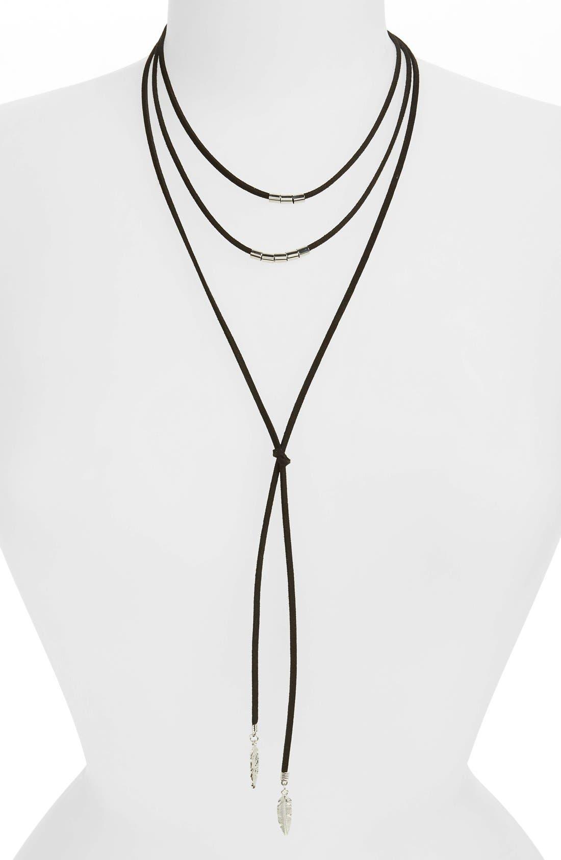 BP. Suede Lariat Necklace, Main, color, 001