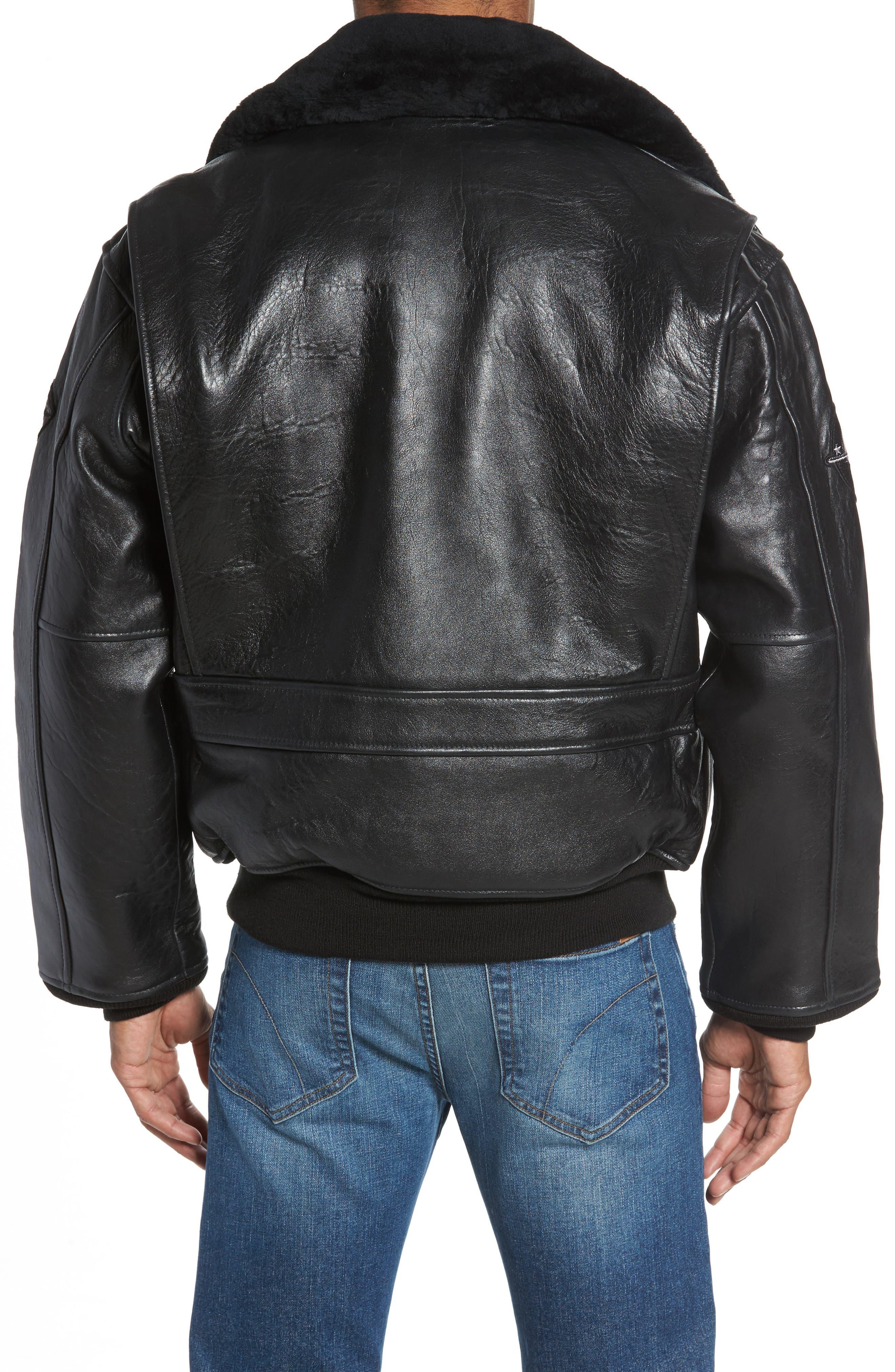 SCHOTT NYC,                             Genuine Shearling Collar G-1 Flight Jacket,                             Alternate thumbnail 2, color,                             BLACK