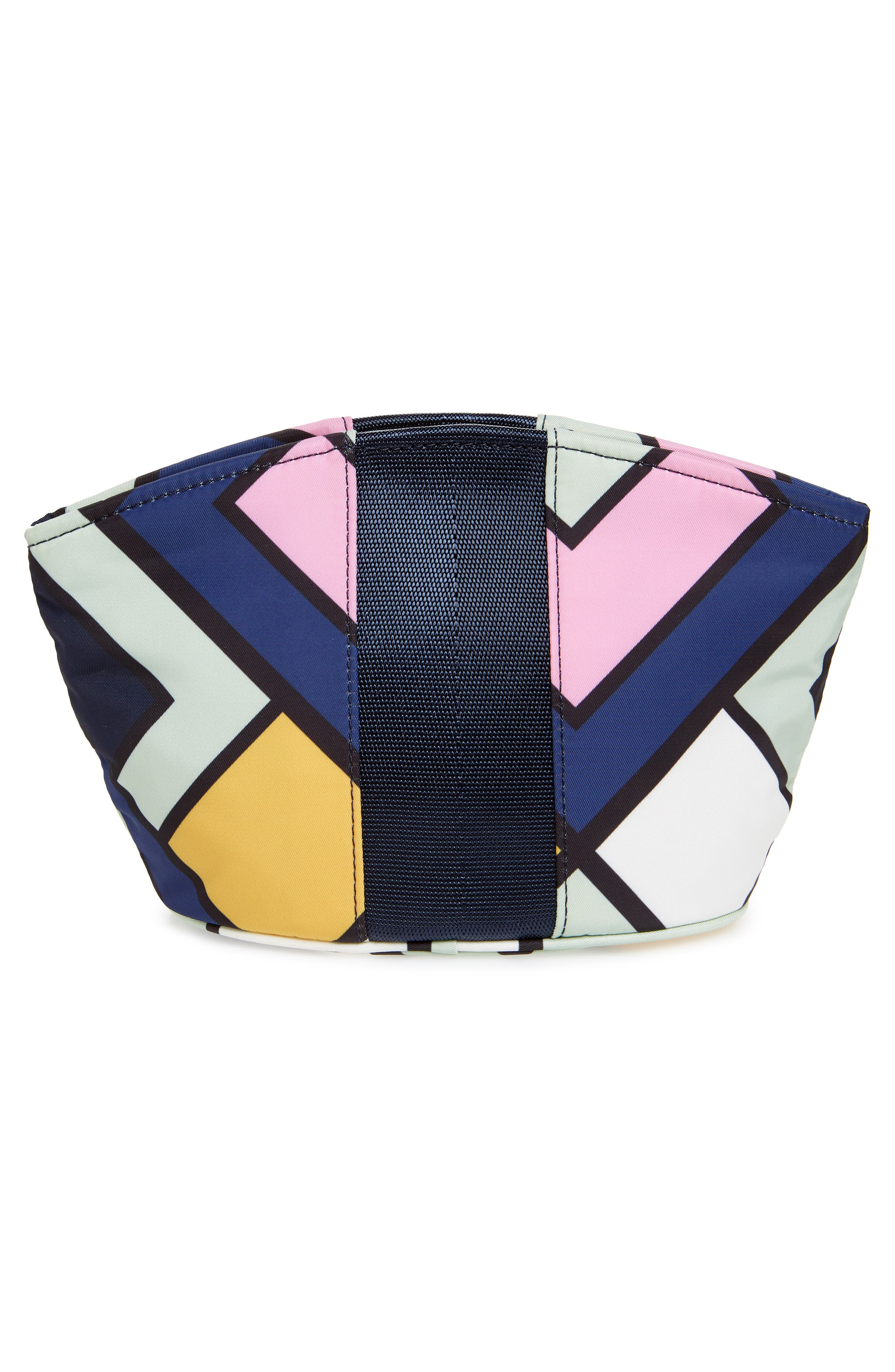 Large Dome Nylon Cosmetic Case,                             Alternate thumbnail 2, color,                             NAVY PICNIC BOX