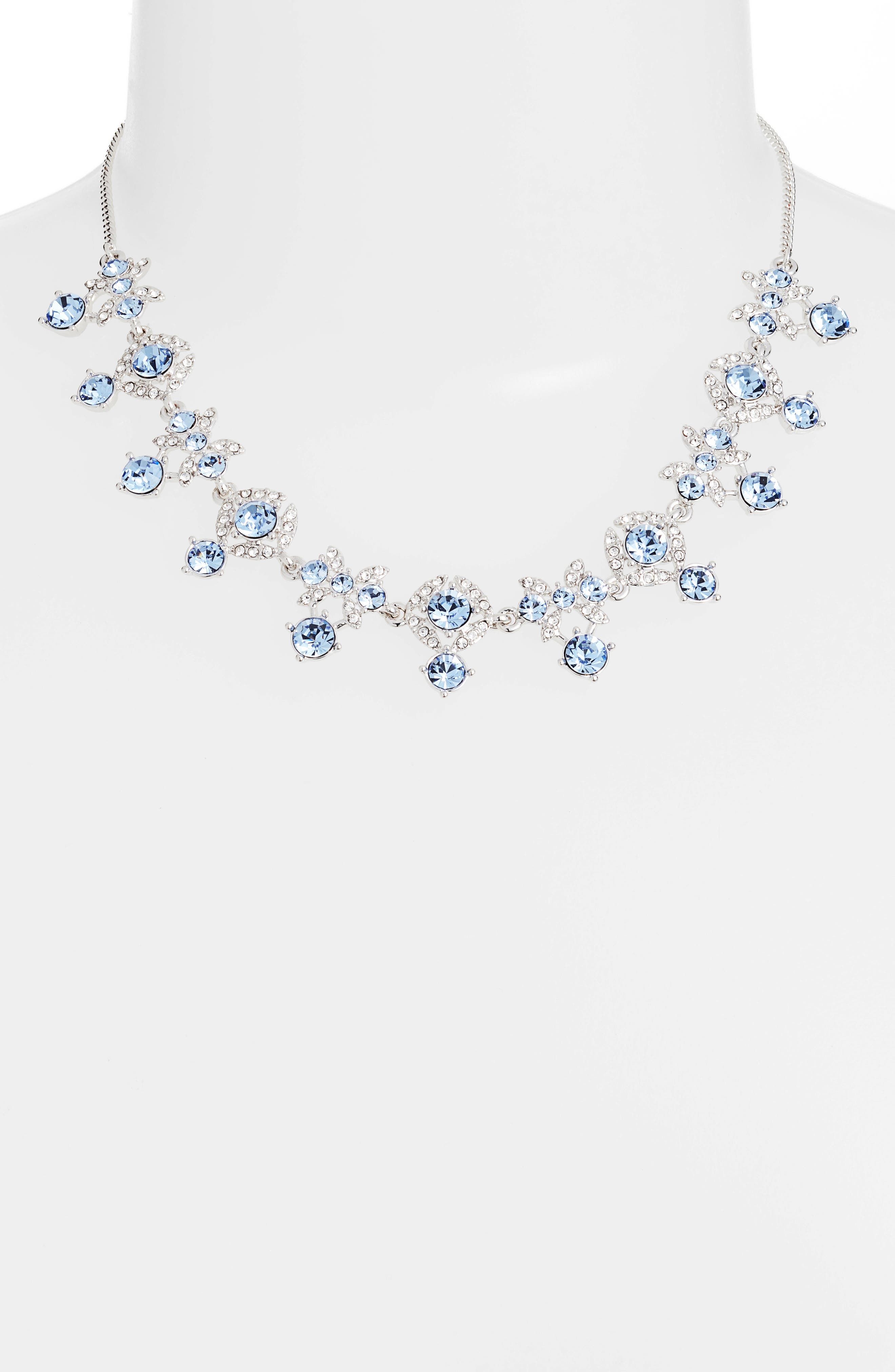 Crystal Frontal Necklace,                             Alternate thumbnail 2, color,                             LIGHT SAPPHIRE/ SILVER