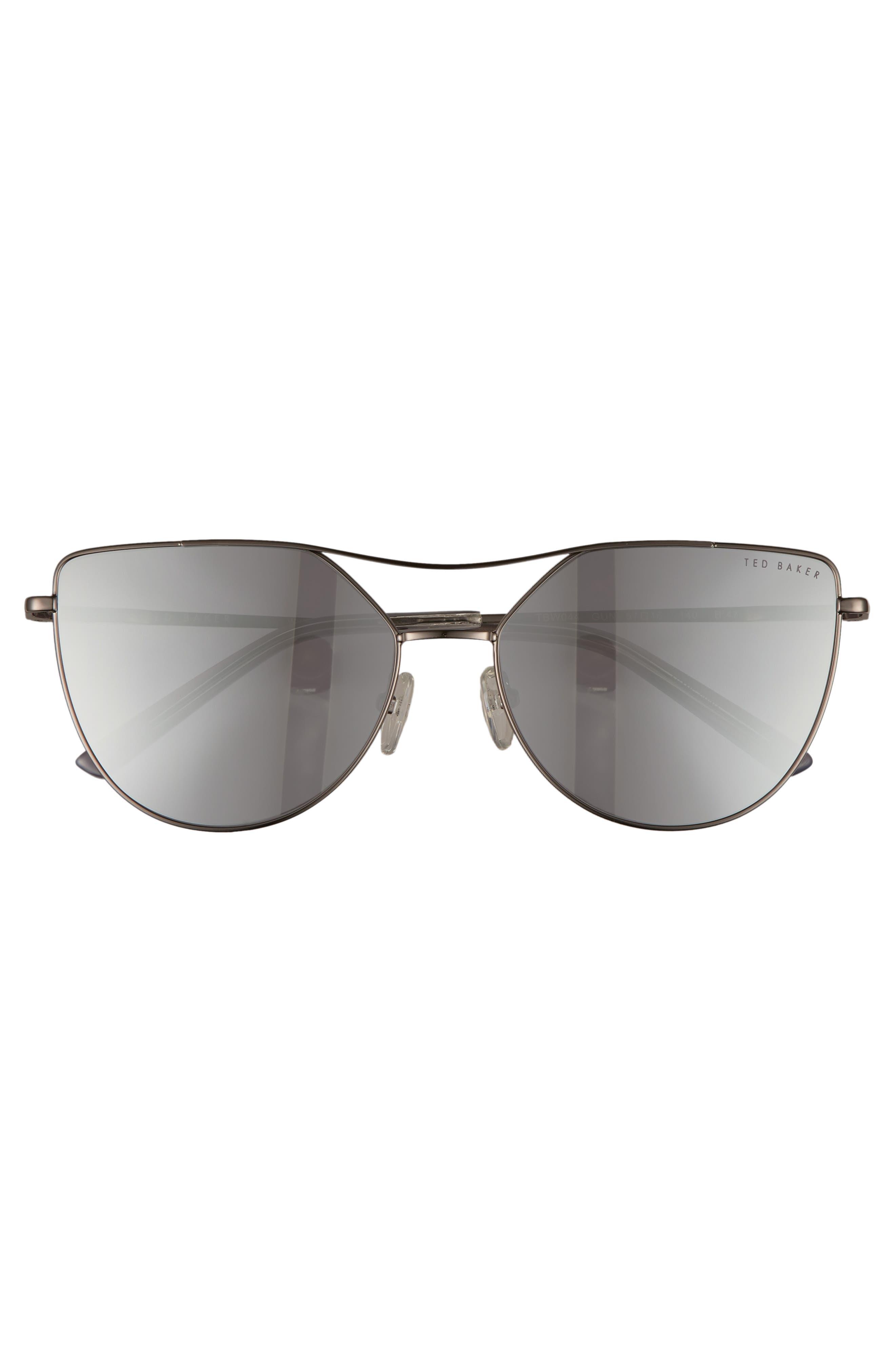 57mm Geometric Aviator Sunglasses,                             Alternate thumbnail 3, color,                             GUN METAL