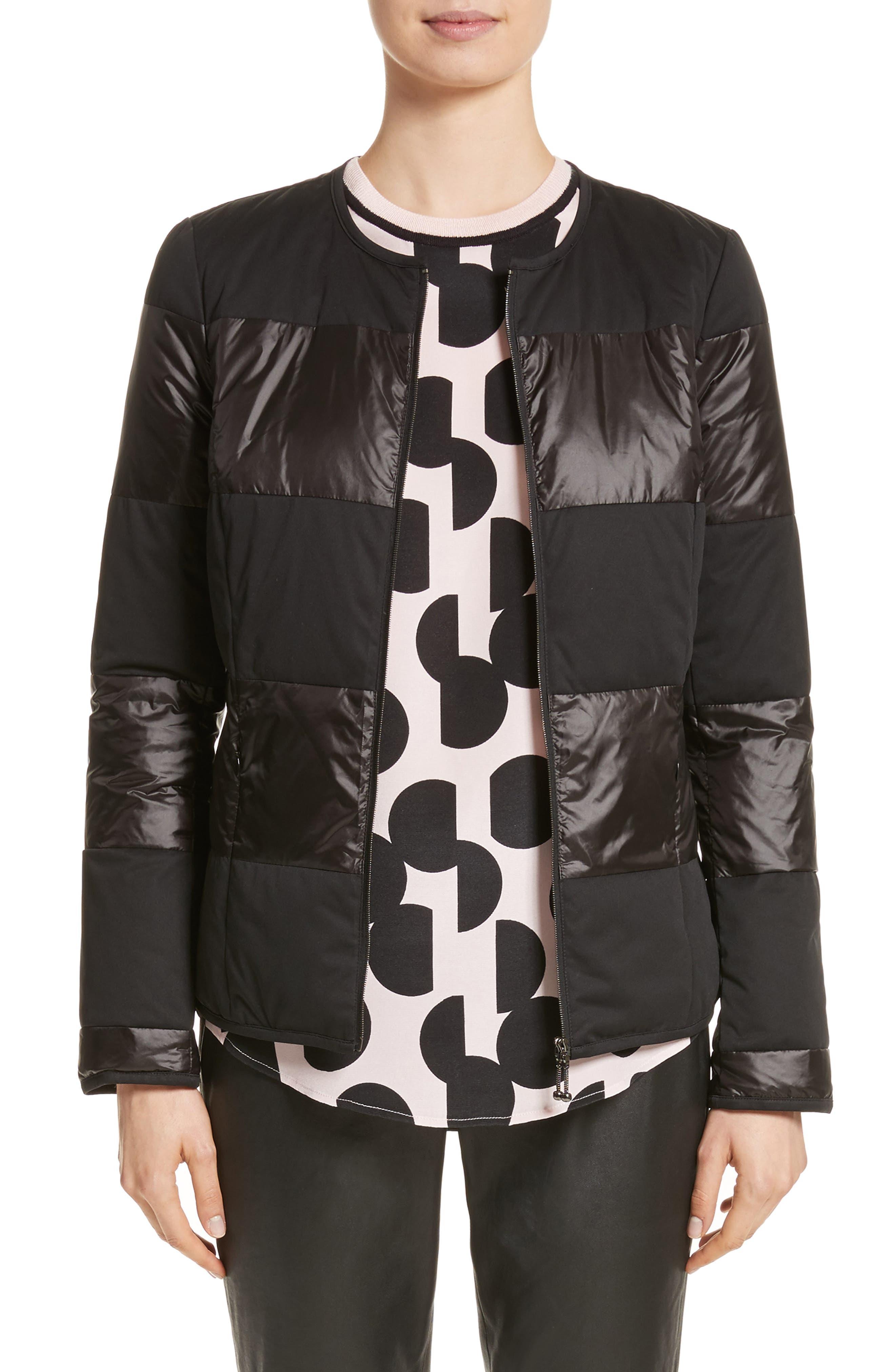 Reversible Dot Print Matte & Shiny Jacket,                         Main,                         color, 001