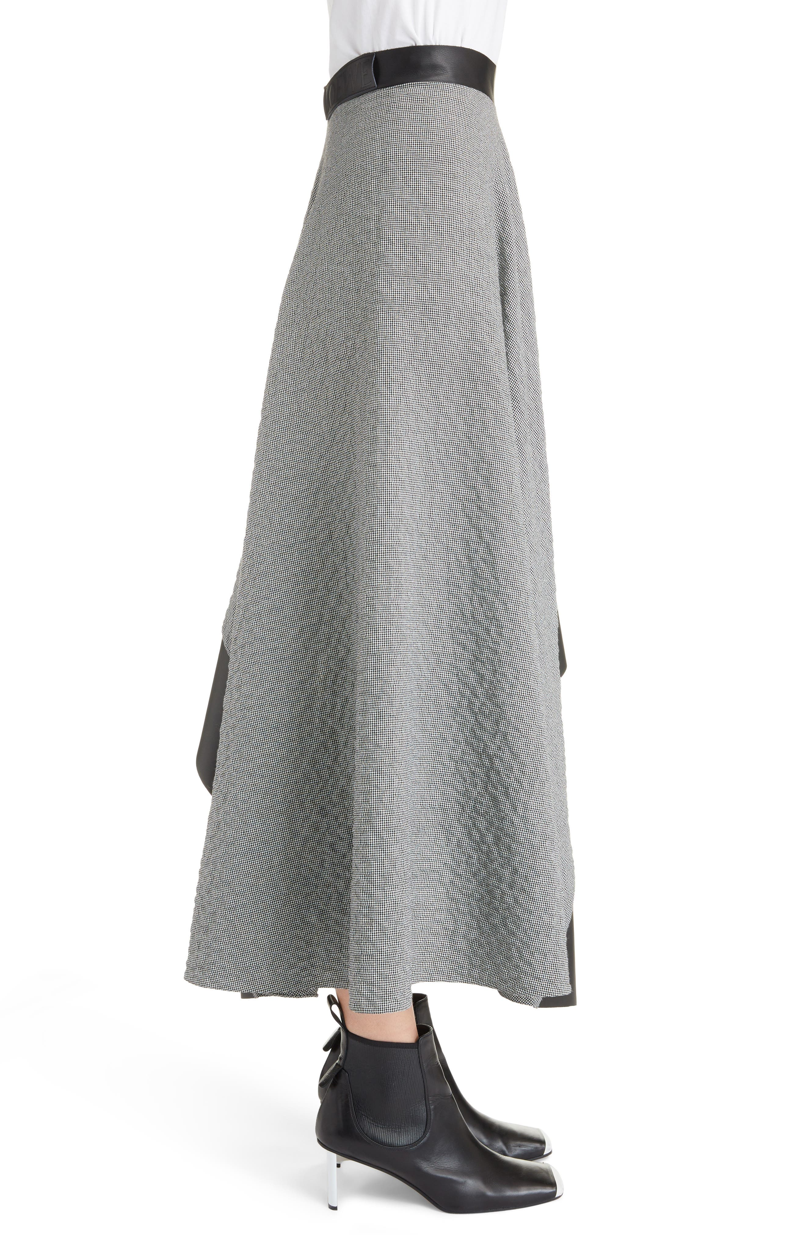 Leather Trim Asymmetrical Skirt,                             Alternate thumbnail 3, color,                             002