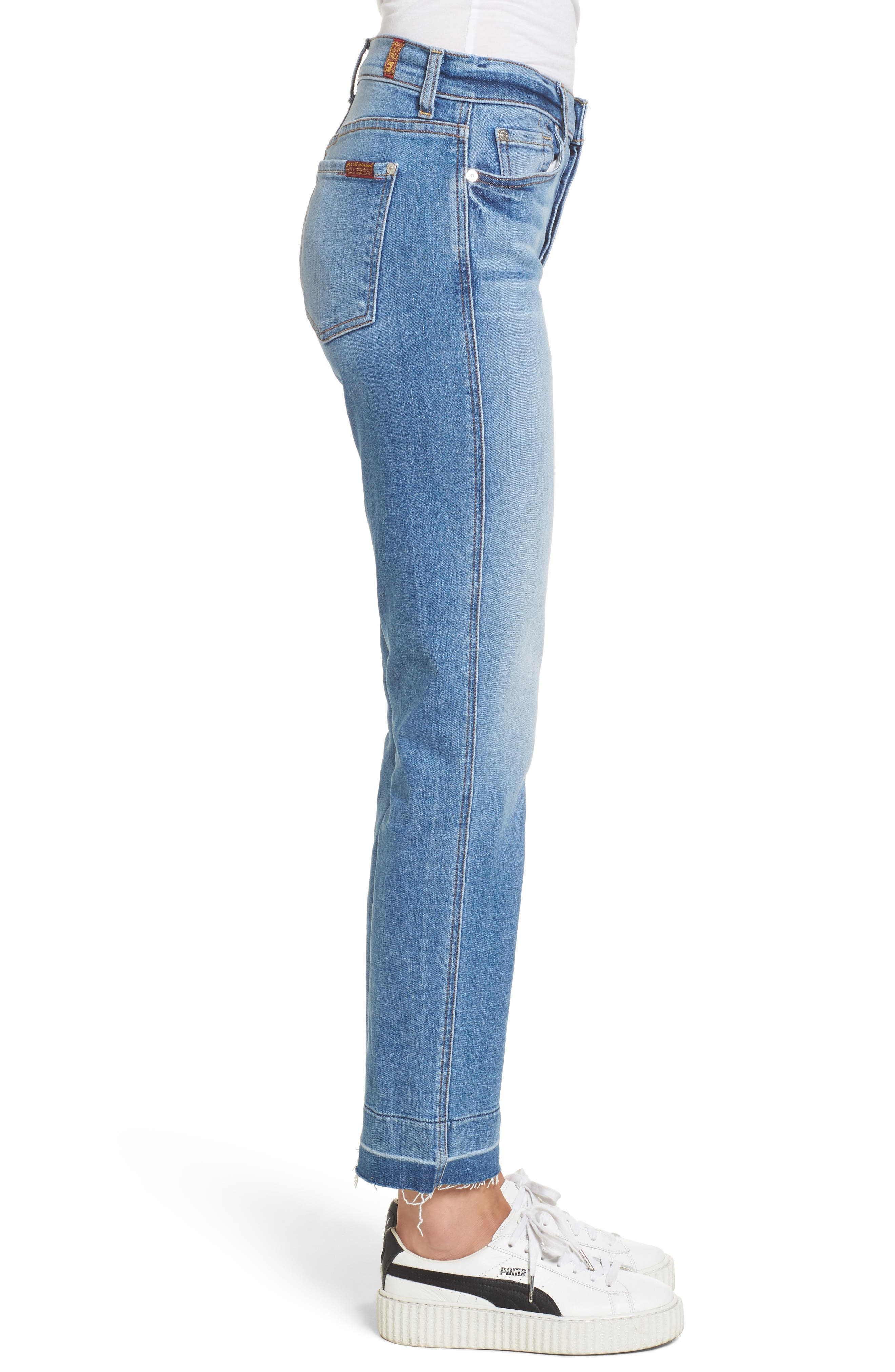 Edie High Waist Crop Release Hem Jeans,                             Alternate thumbnail 3, color,                             400