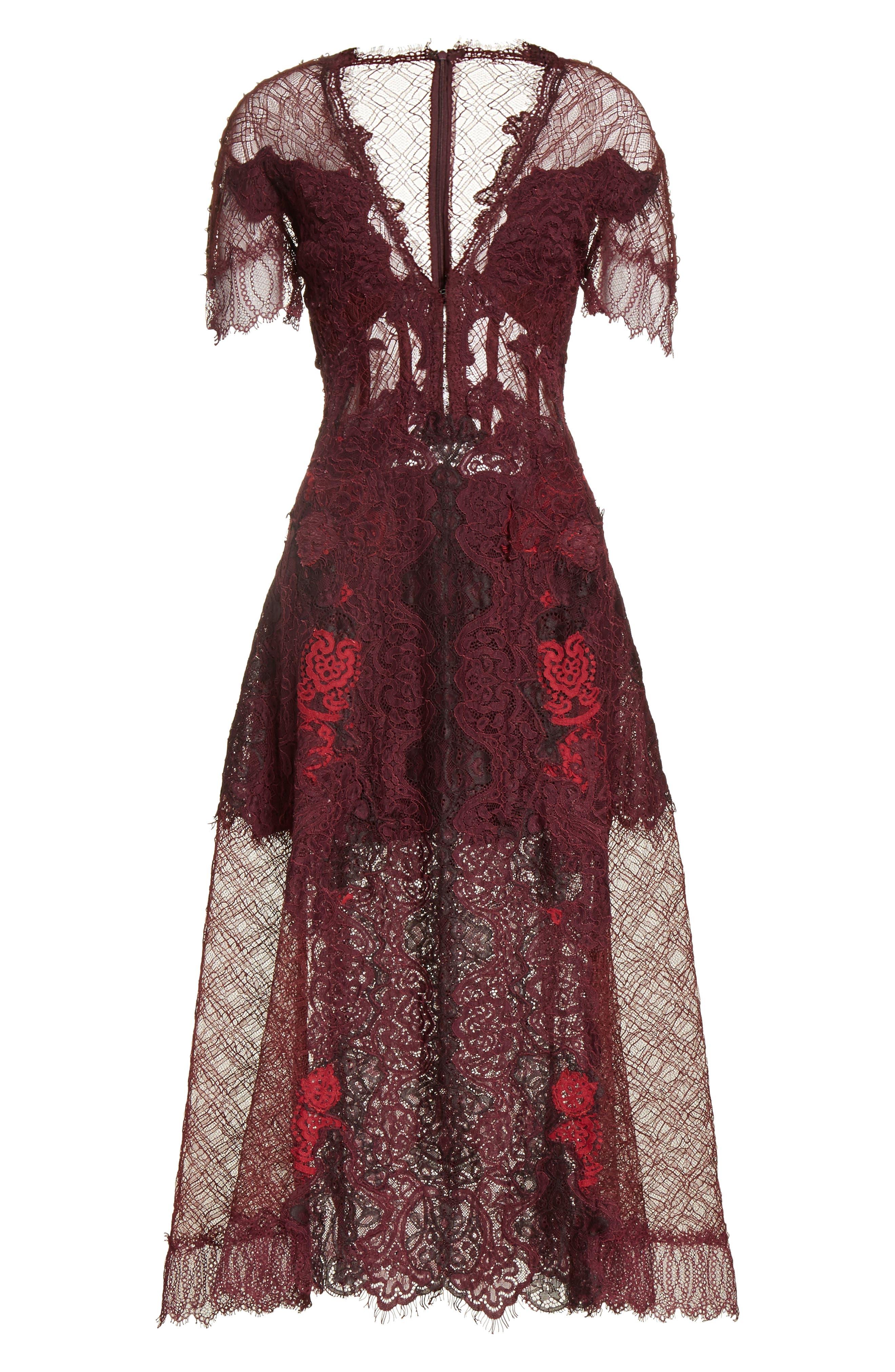 Grommet Detail Lace Dress,                             Alternate thumbnail 6, color,