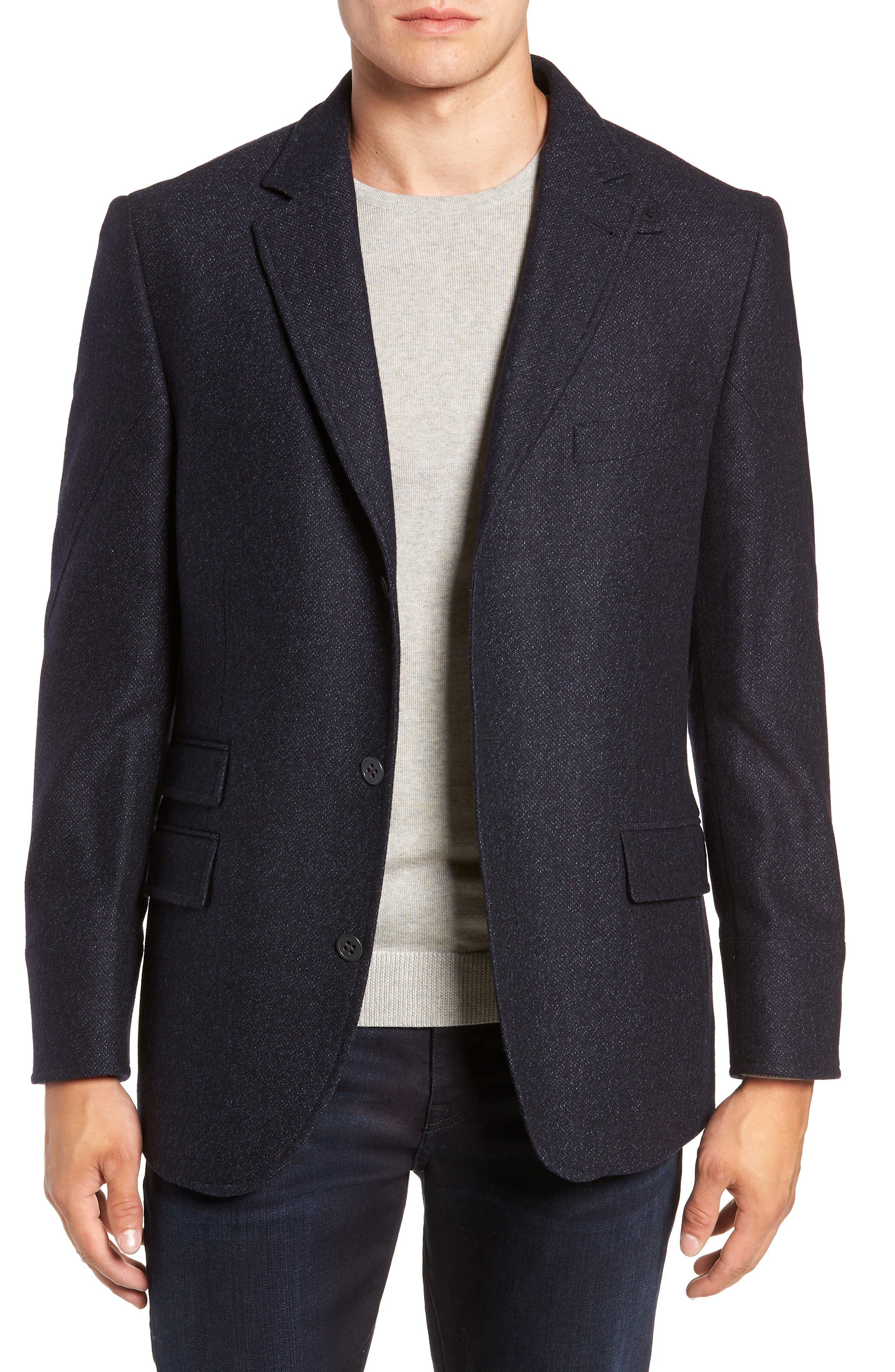 Hybrid Wool & Cashmere Sport Coat,                             Alternate thumbnail 4, color,                             BLUE