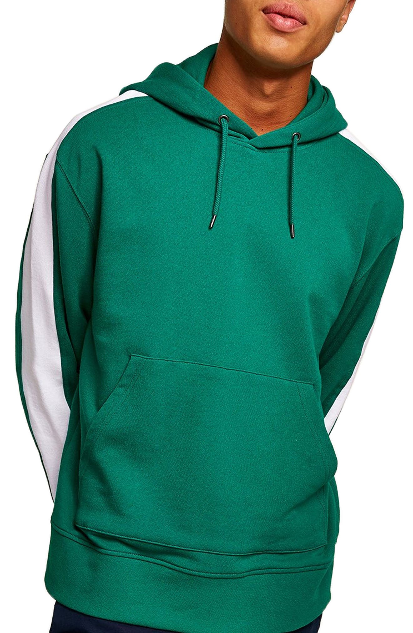 Paneled Hoodie,                         Main,                         color, TURQUOISE
