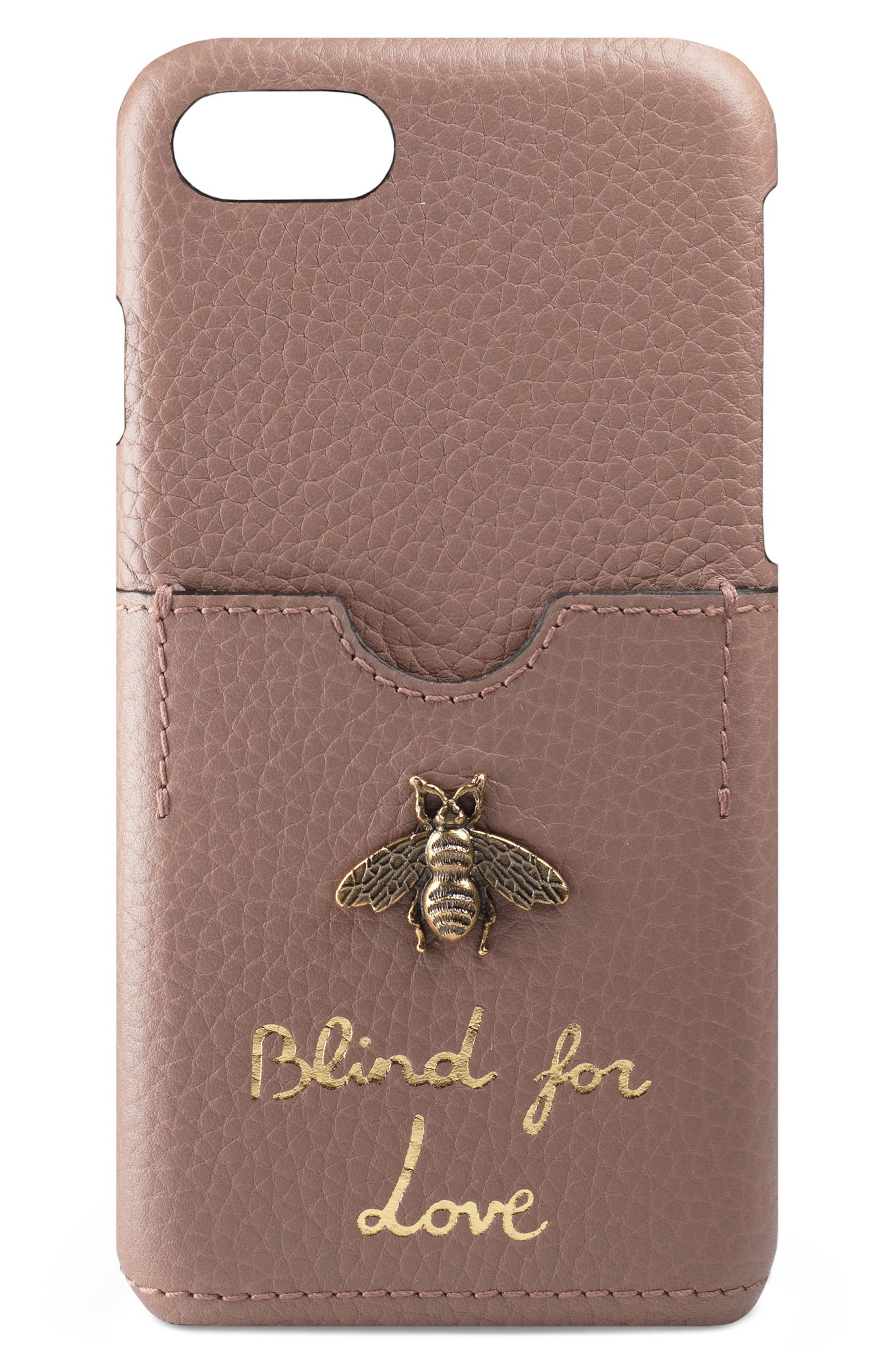 Animalier Bee Leather iPhone 7 Case,                         Main,                         color, PORCELAIN ROSE