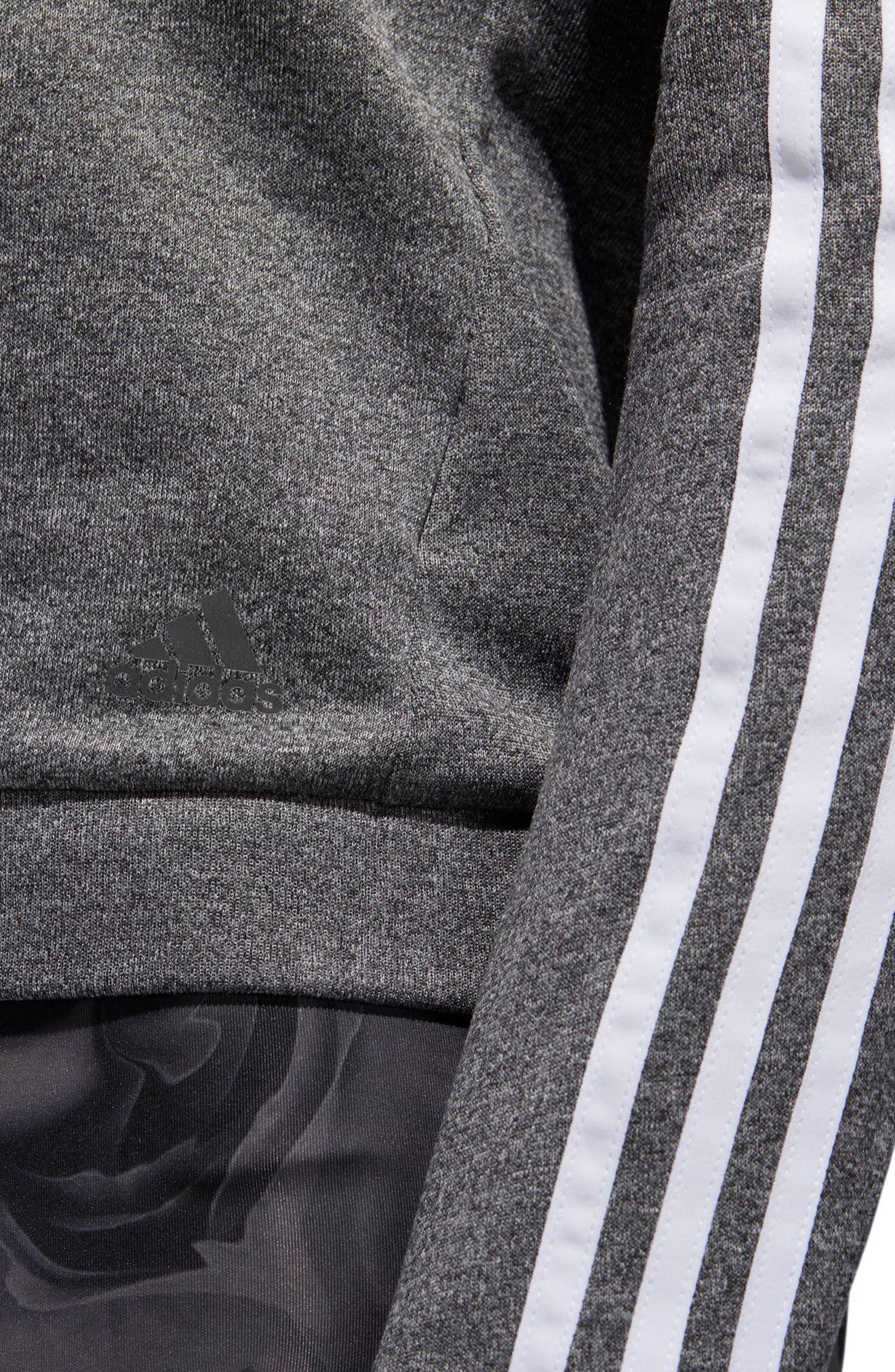3-Stripes Running Sweatshirt,                             Alternate thumbnail 8, color,                             DARK GREY HEATHER