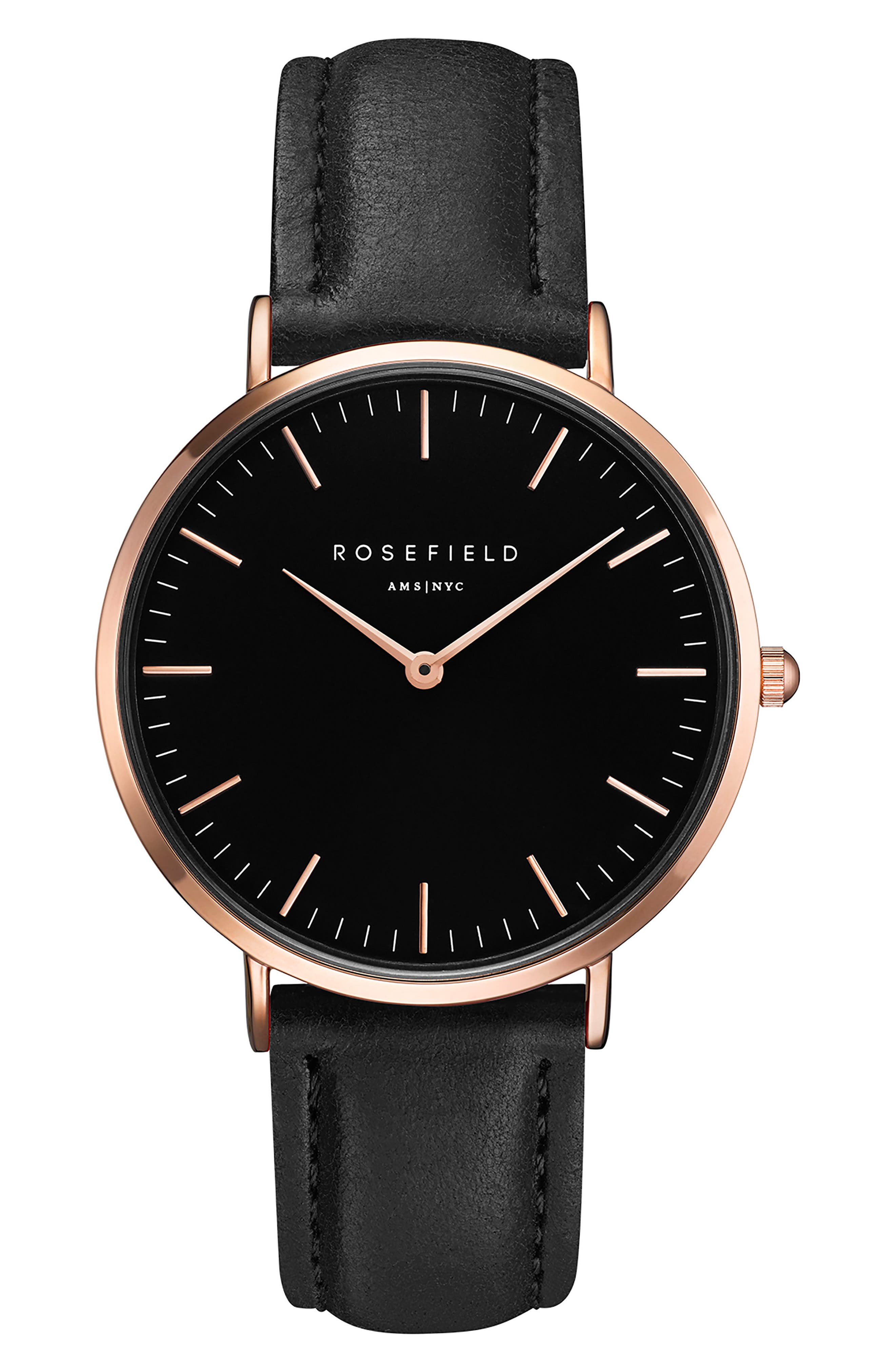 Bowery Leather Strap Watch, 38mm,                             Main thumbnail 1, color,                             BLACK/ ROSE GOLD