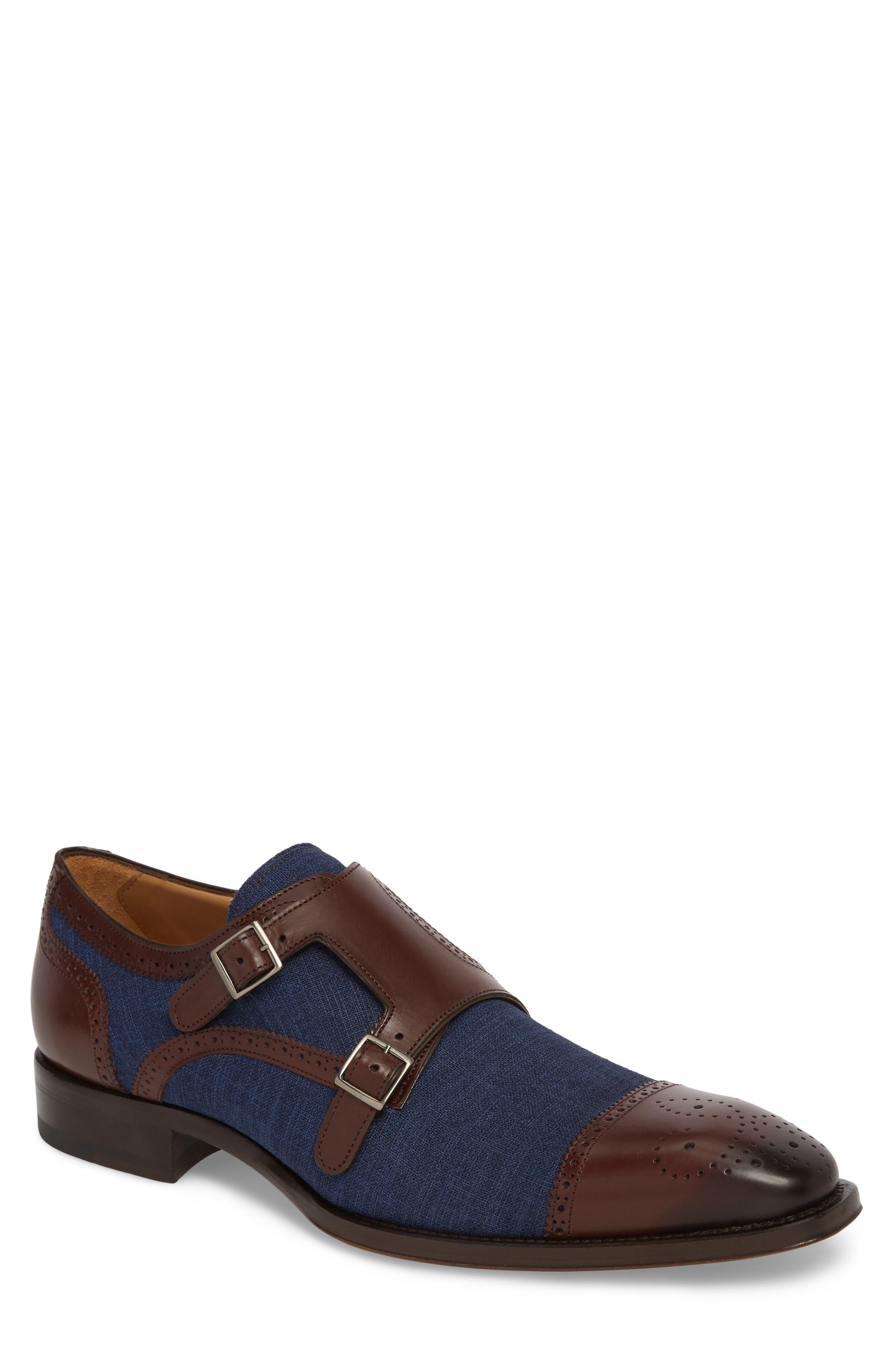 Cupido Double Monk Strap Cap Toe Shoe,                         Main,                         color, BROWN/ BLUE LEATHER