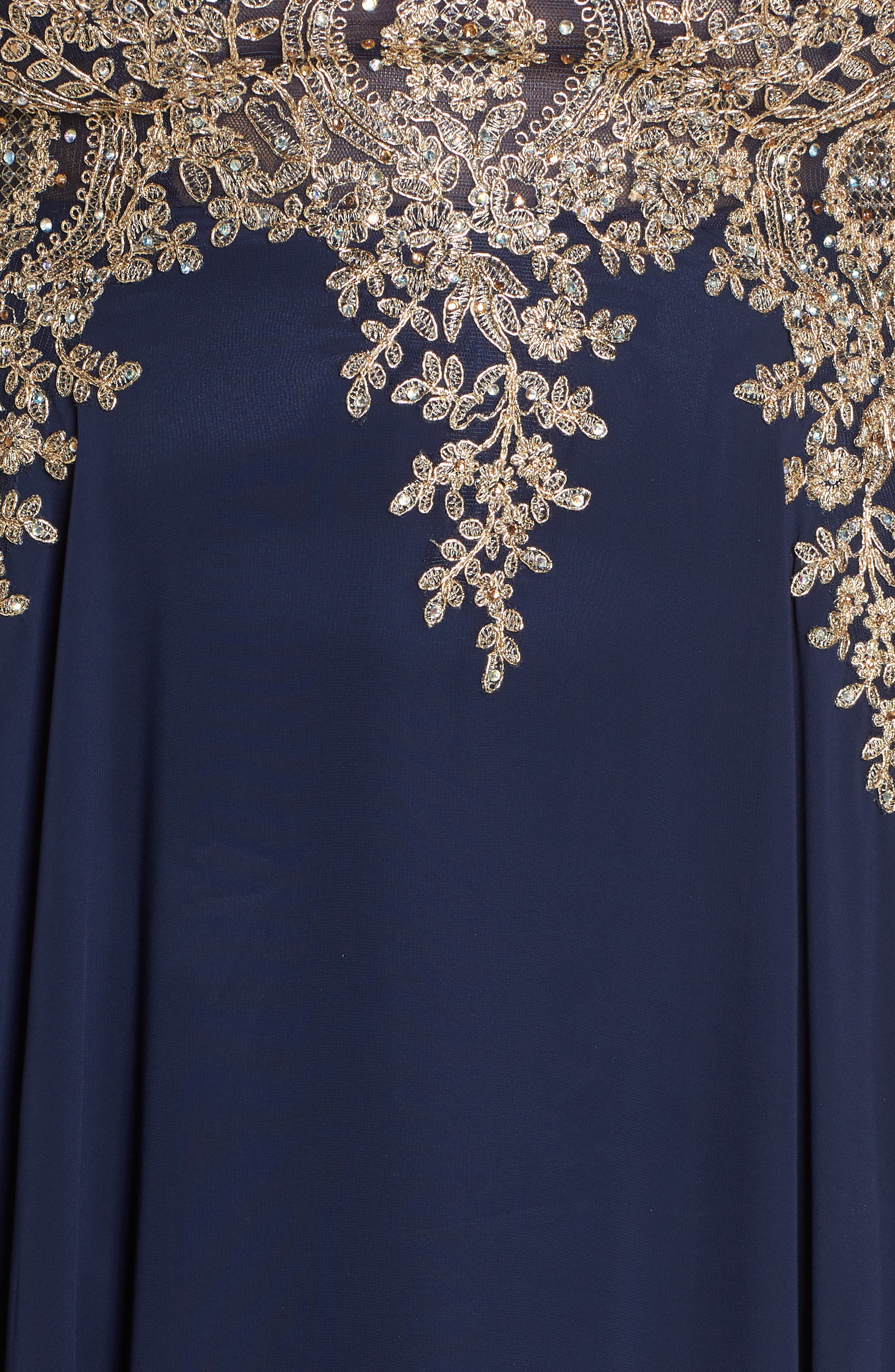 Metallic Embroidered Gown,                             Alternate thumbnail 6, color,                             NAVY/ GOLD