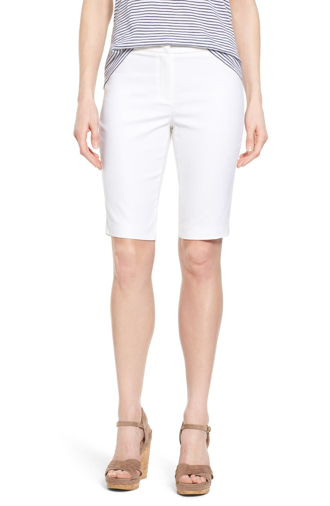 'The Perfect' Stretch Woven Trouser Shorts,                             Main thumbnail 1, color,                             PAPER WHITE
