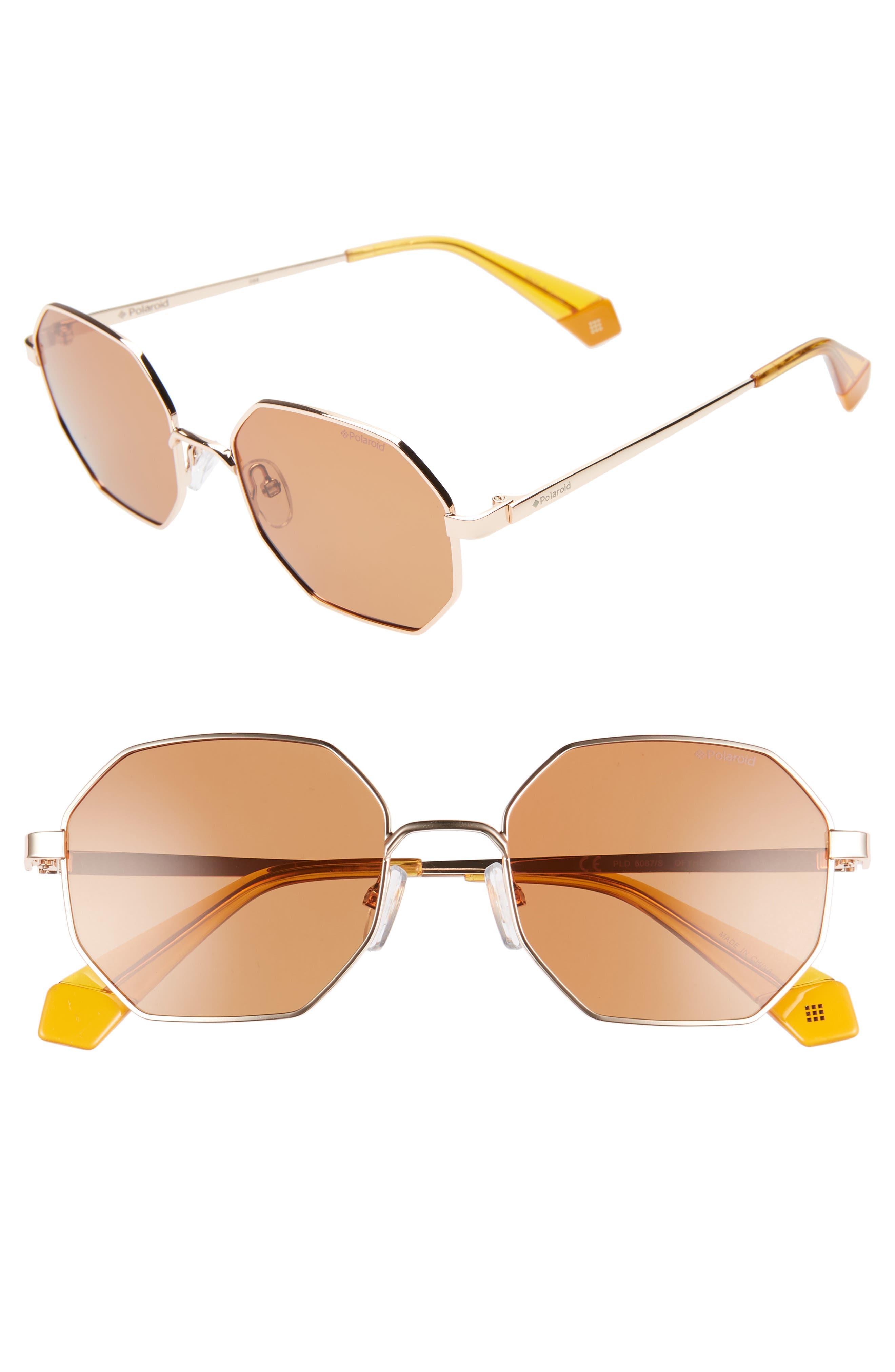 Polaroid 5m Geometric Polarized Sunglasses - Gold/ Light Red
