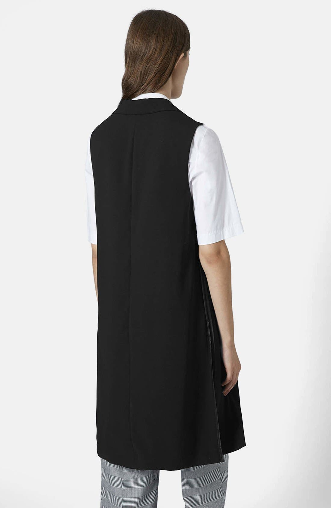 Sleeveless Side Split Coat,                             Alternate thumbnail 3, color,                             001