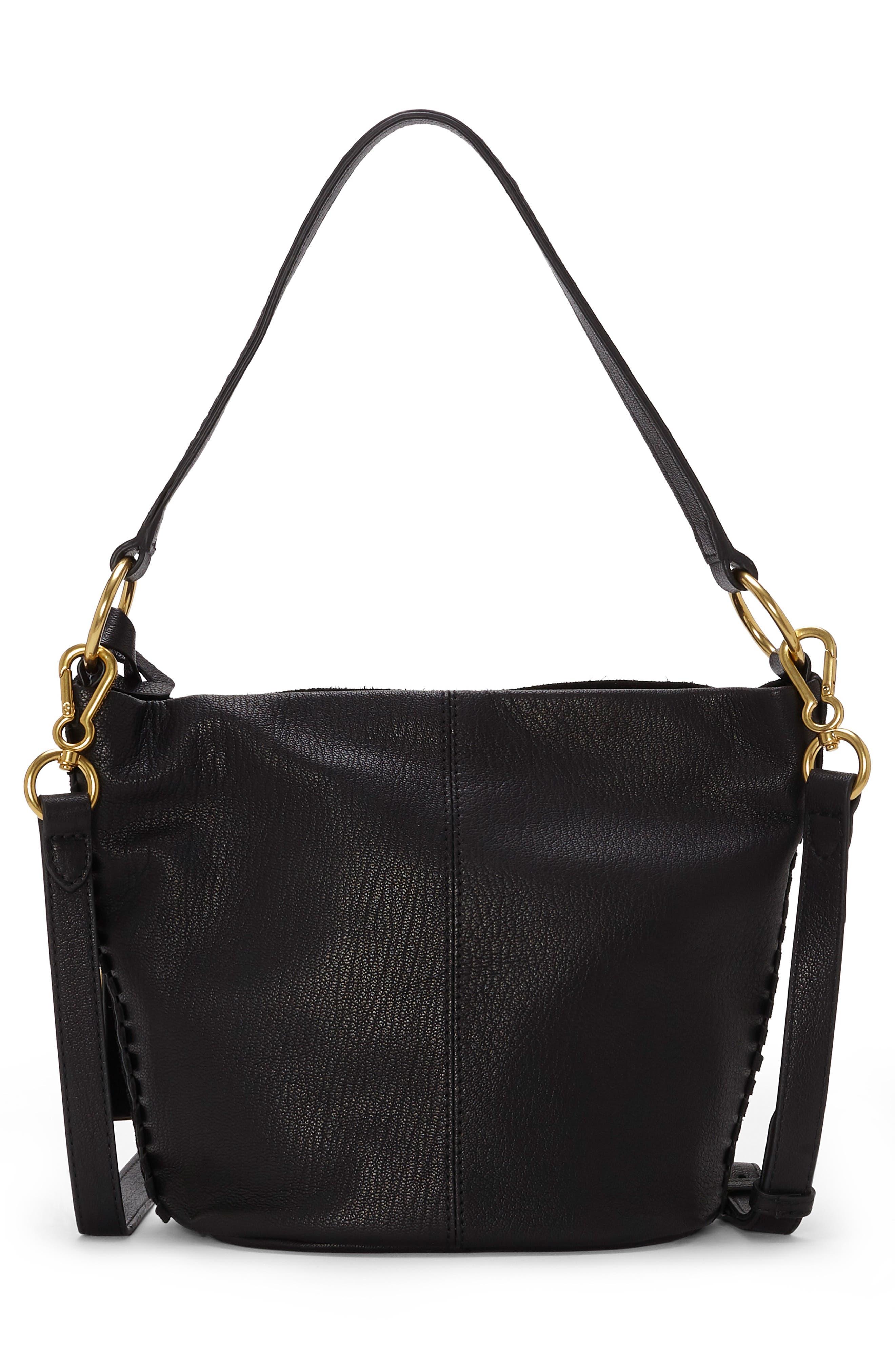 Suza Leather Bucket Bag,                             Alternate thumbnail 2, color,                             JET BLACK