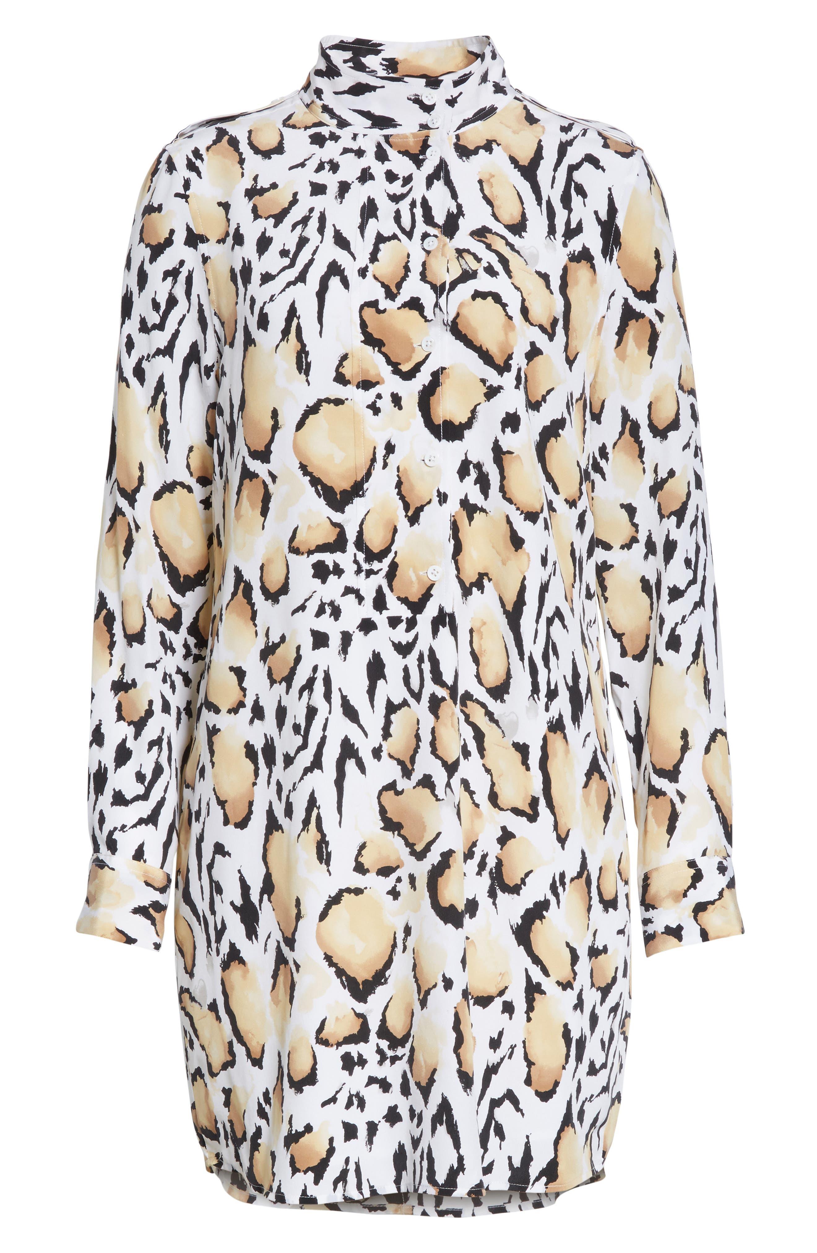 Freda Animal Print Silk Shirtdress,                             Alternate thumbnail 6, color,